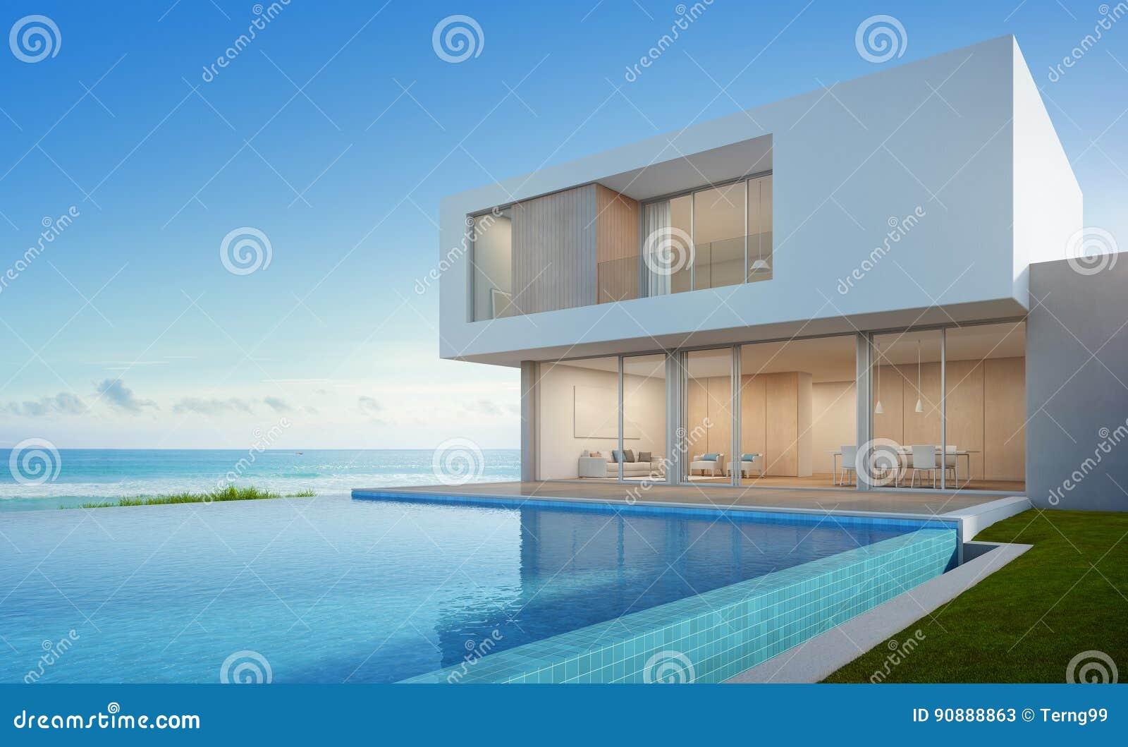 Casa di spiaggia di lusso con la piscina di vista del mare for Piani del cortile con piscine