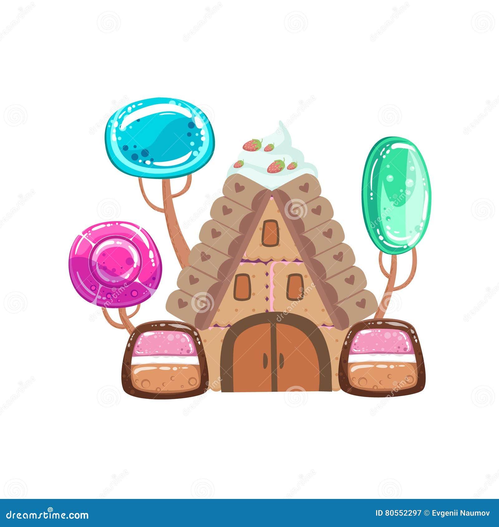 Casa do conto de fadas com elemento doce da paisagem da terra dos doces da fantasia das árvores dos doces