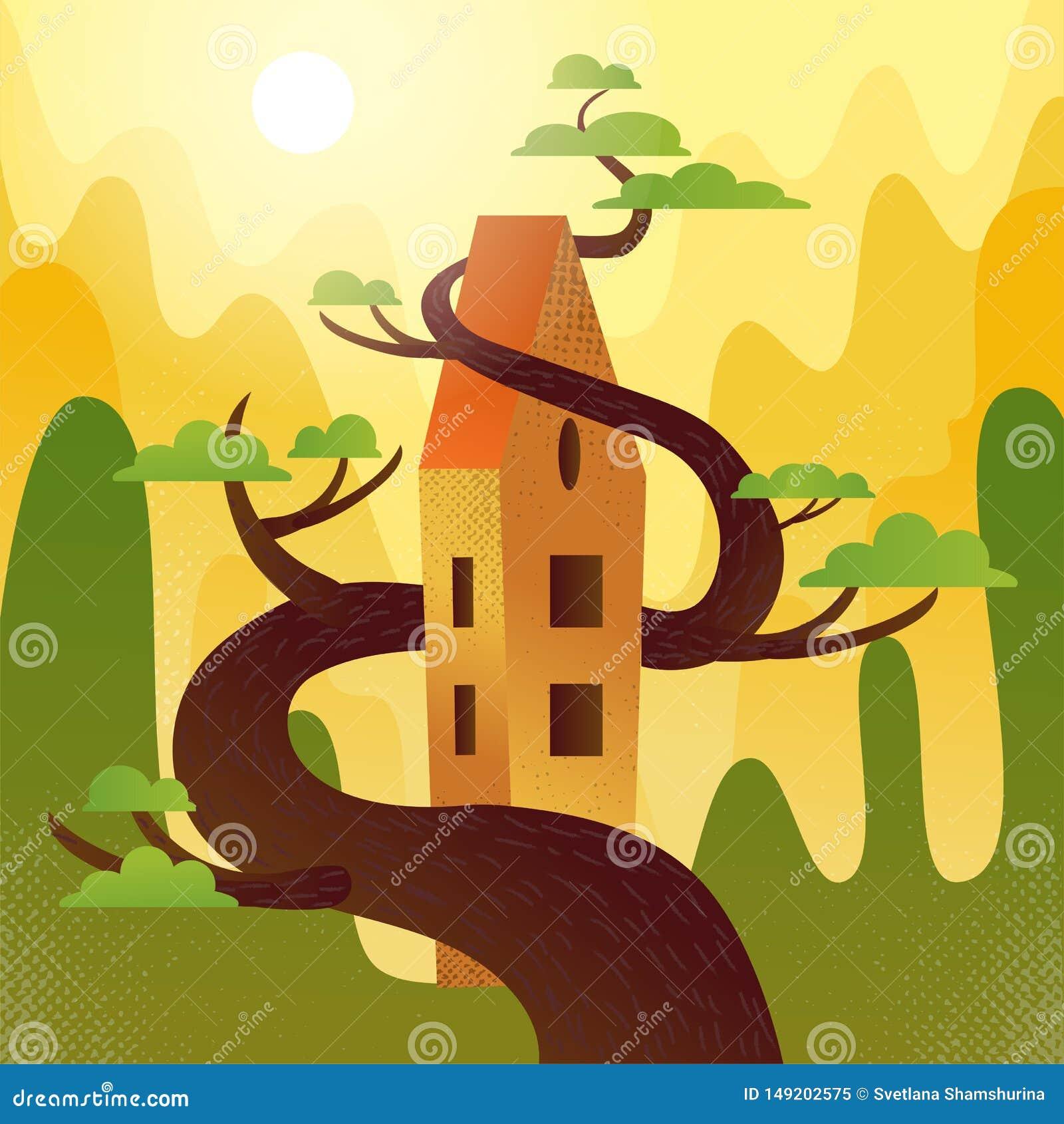 Casa do conto de fadas com o telhado, entrelaçado com a árvore em montanhas, fundo dos montes O tempo do verão, sol quente está b