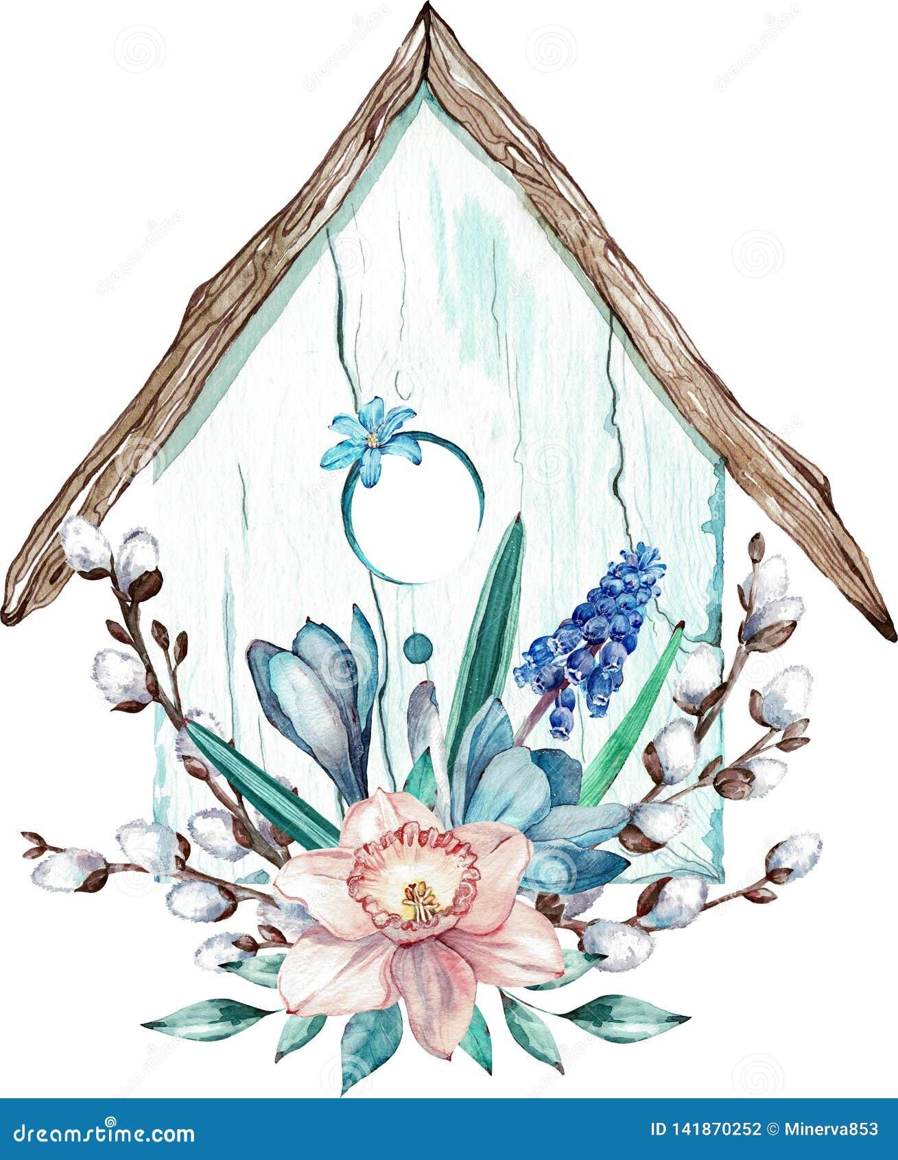 Casa do pássaro da Páscoa com ramos das flores da mola e do salgueiro de bichano Ilustração da aquarela isolada no fundo branco