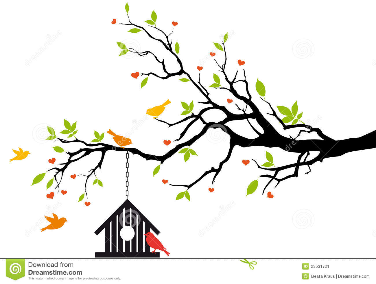 Casa do pássaro na árvore da mola,