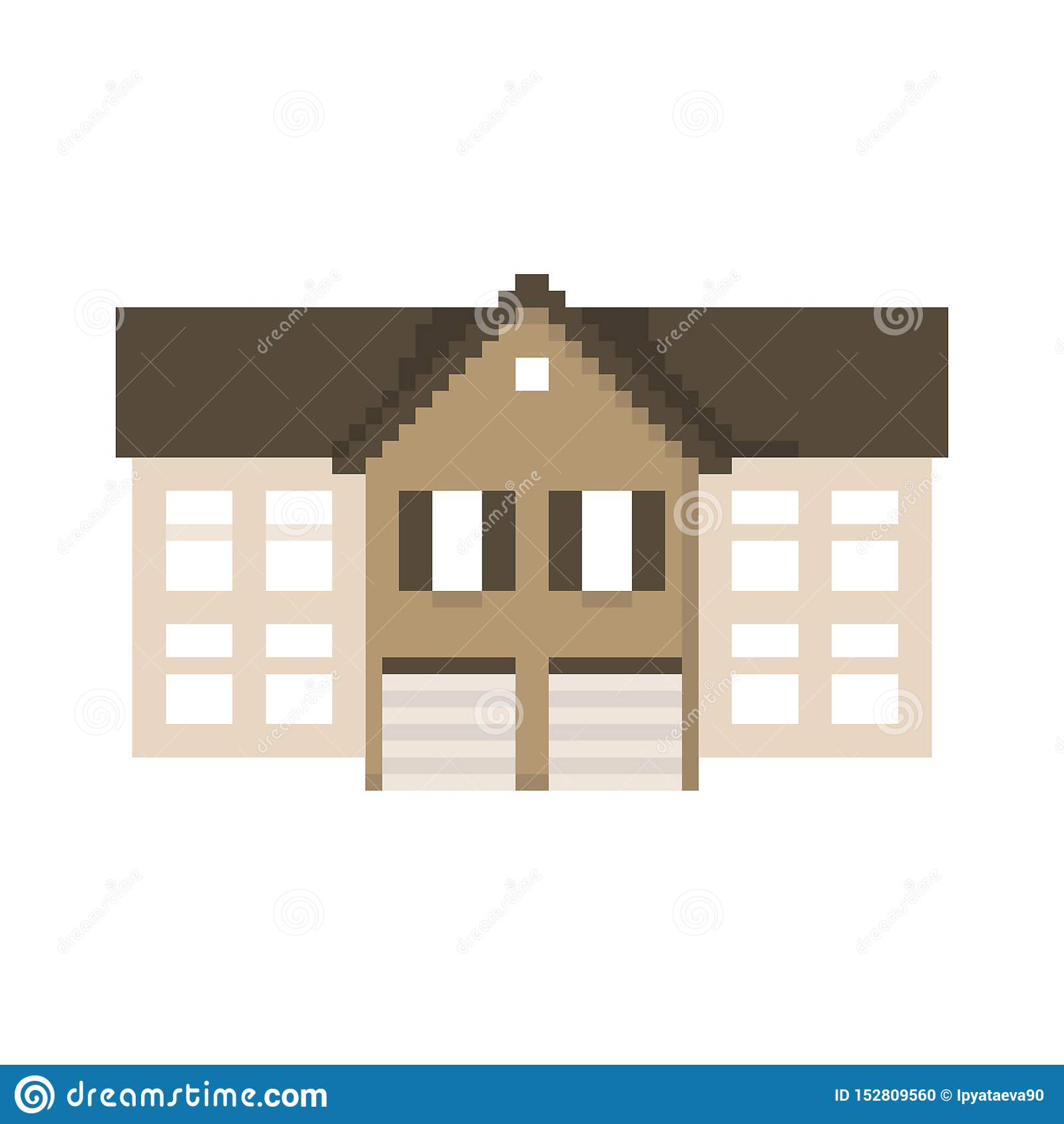 Casa do pixel isolada no fundo branco Gráficos para jogos bocado 8 Ilustra??o do vetor