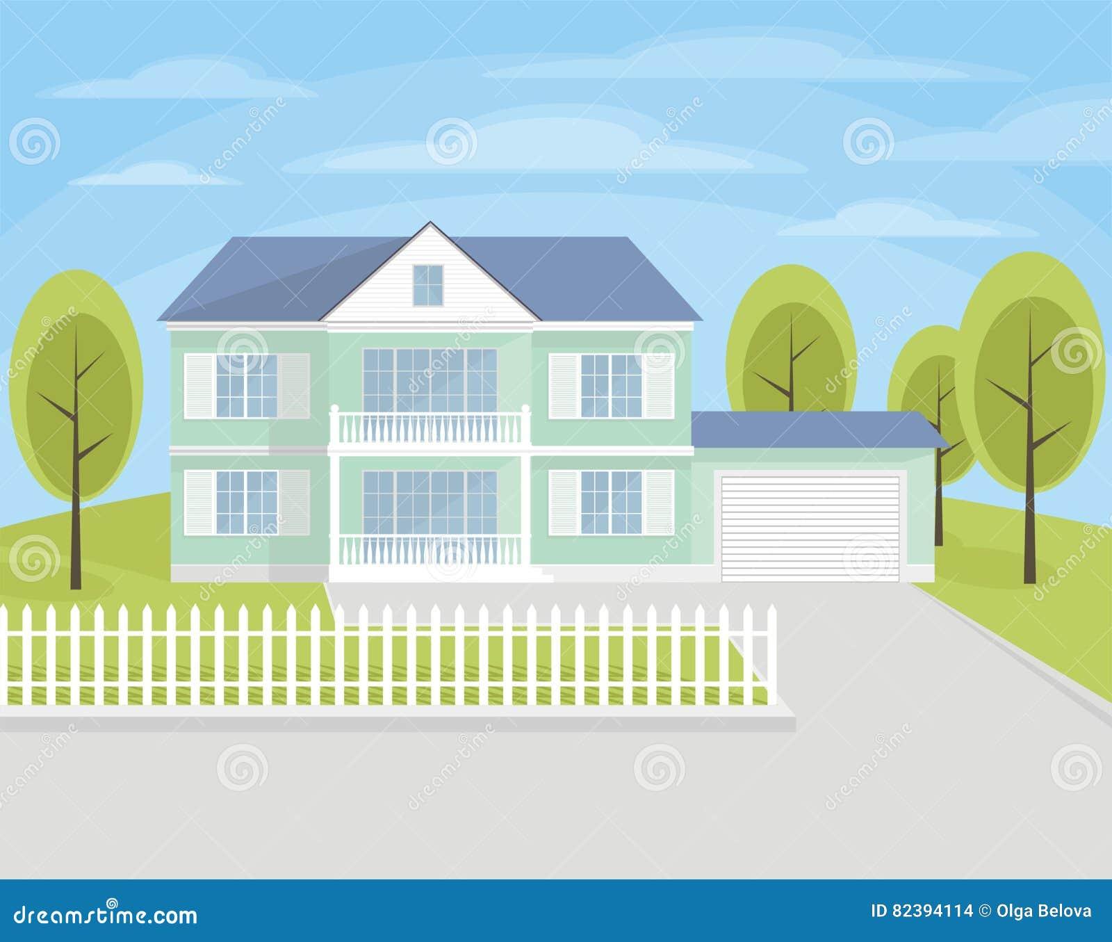 Casa a due piani con il garage illustrazione vettoriale for Piani di casa bassa architettura del paese