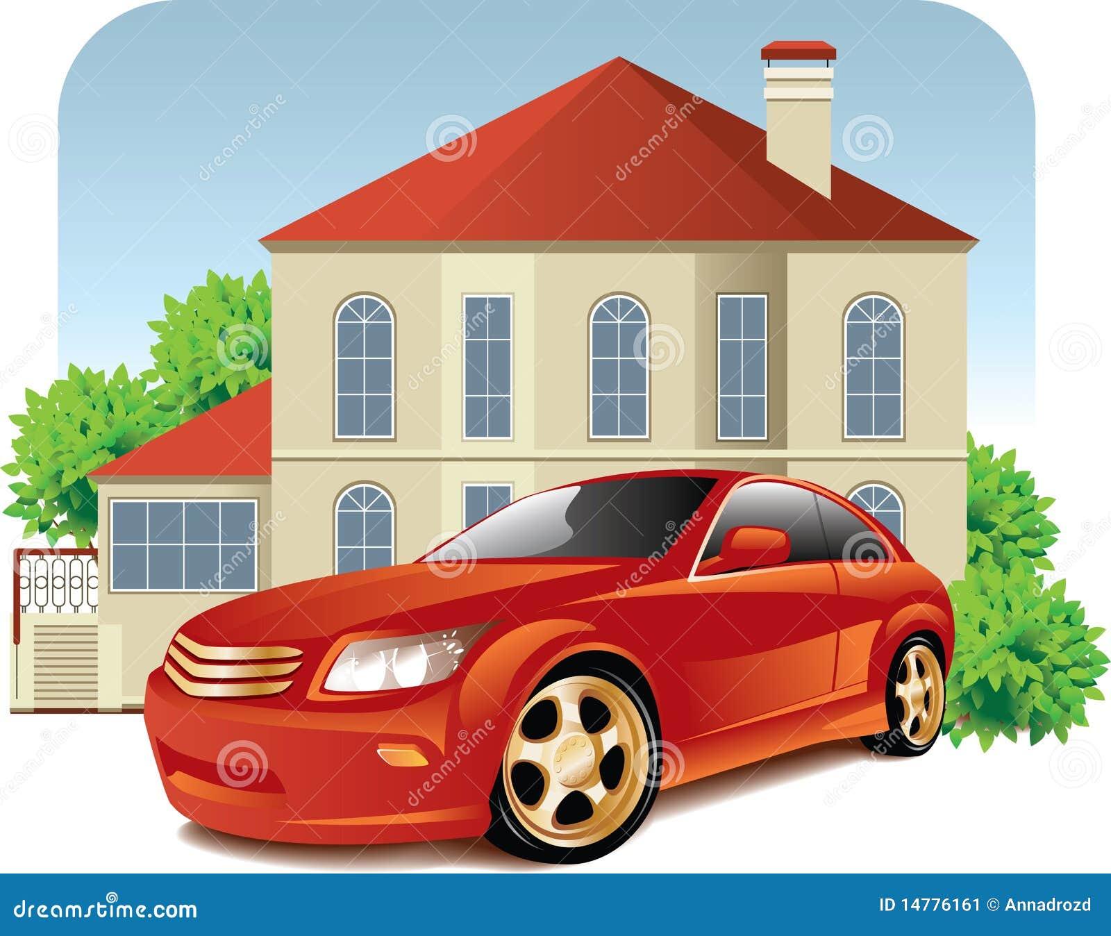 Casa E Carro Ilustração Do Vetor. Ilustração De Interior