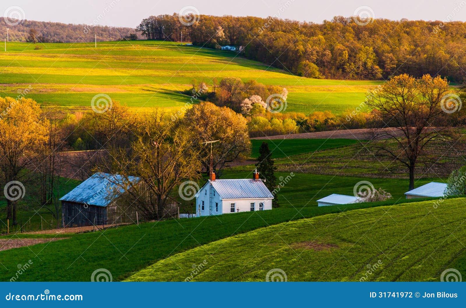 Casa e granaio sui campi dell azienda agricola e sulla Rolling Hills della contea di York del sud, PA.