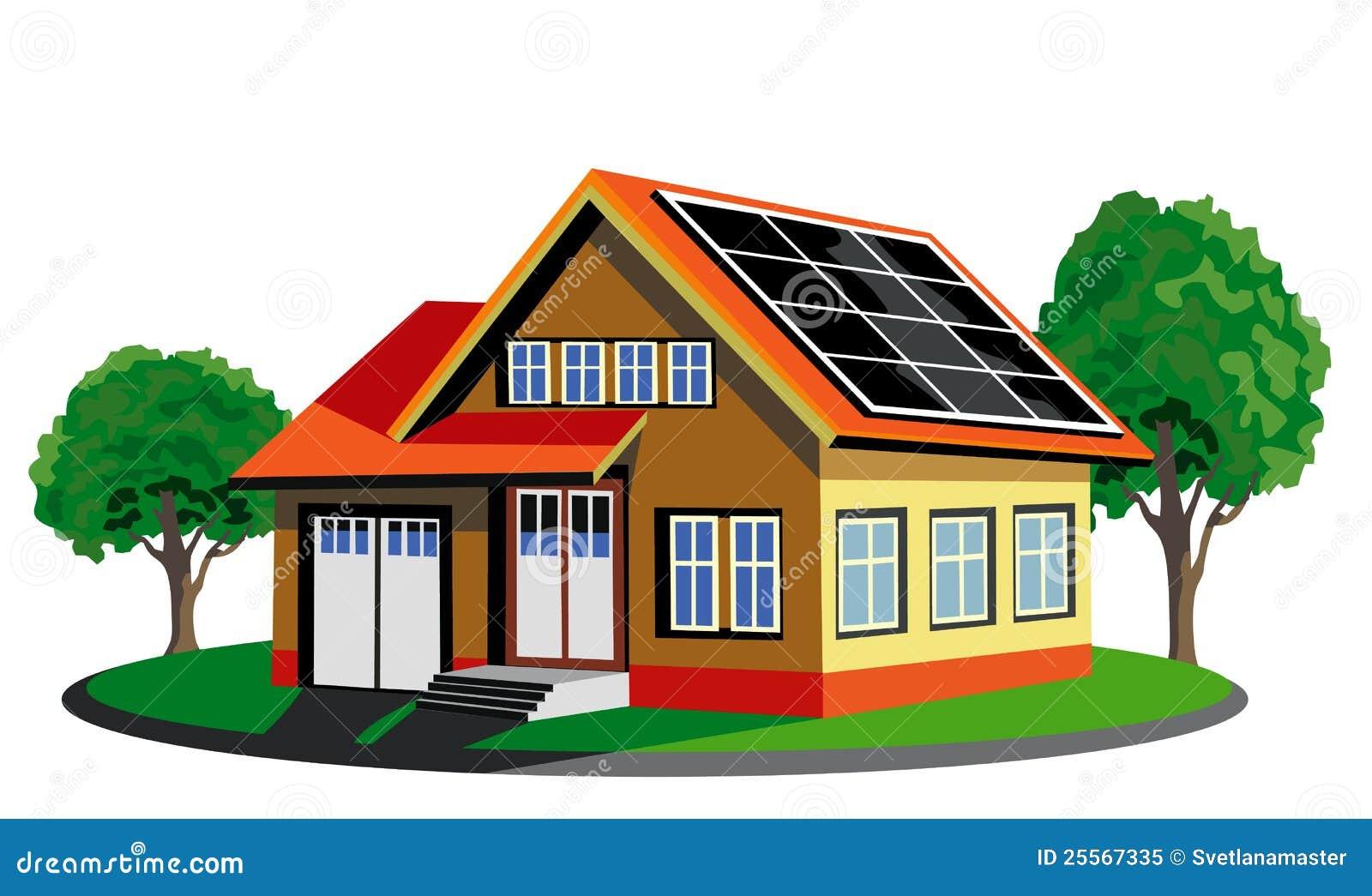 Casa ecologica con pannel solare illustrazione vettoriale - Casa ecologica prefabbricata prezzi ...