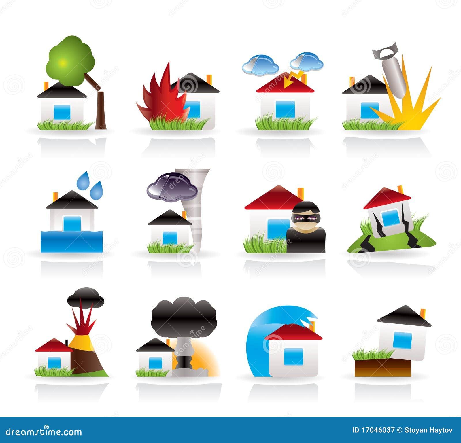 Casa ed icone di assicurazione e di rischio della casa for Programma di disegno della casa libera