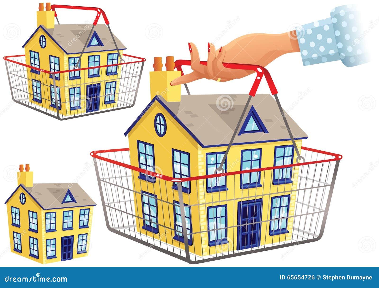 Casa en cesta de compras
