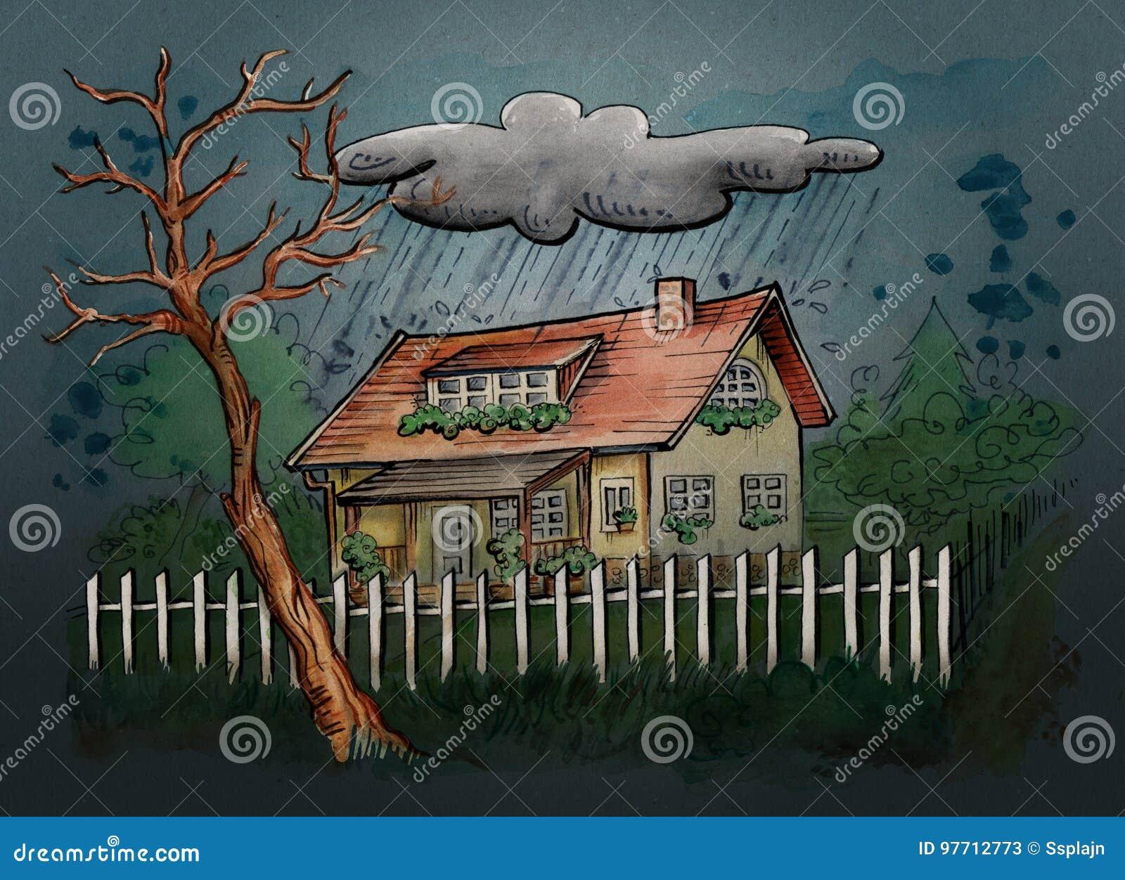 Casa en un día lluvioso stock de ilustración. Ilustración de color ...