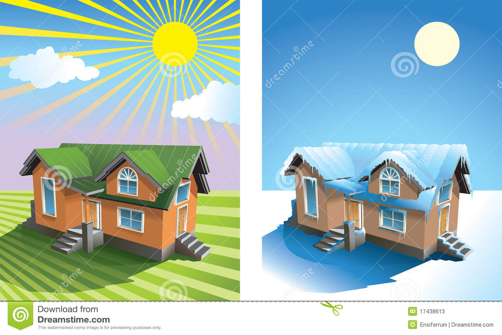 Casa en verano e invierno ilustraci n del vector for Imagenes de patios de invierno