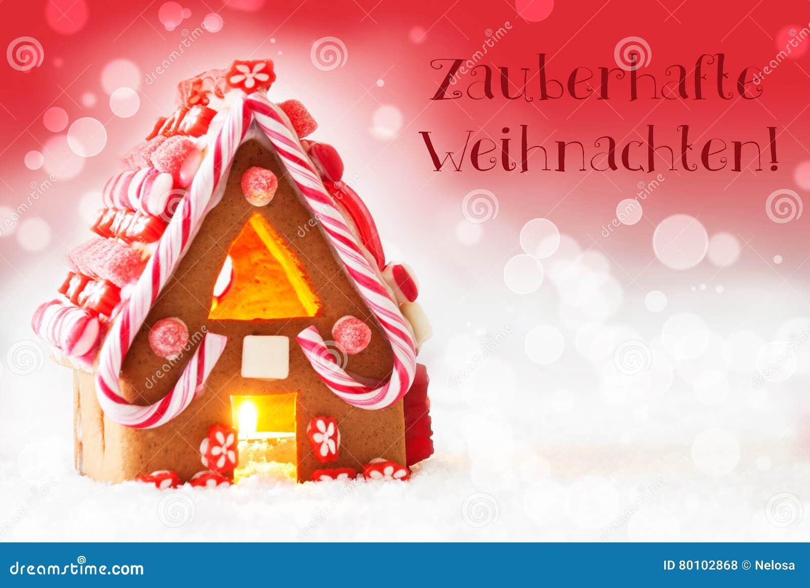 A casa, fundo vermelho, texto Zauberhafte Weihnachten significa o Natal mágico