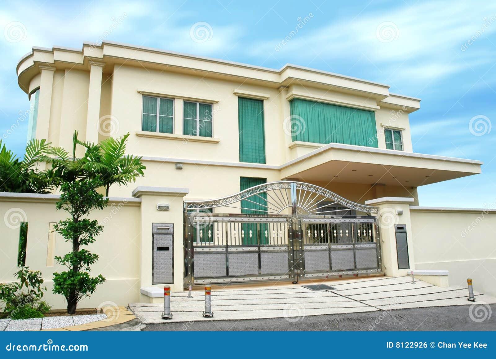 Casa grande moderna for Casa moderna vector