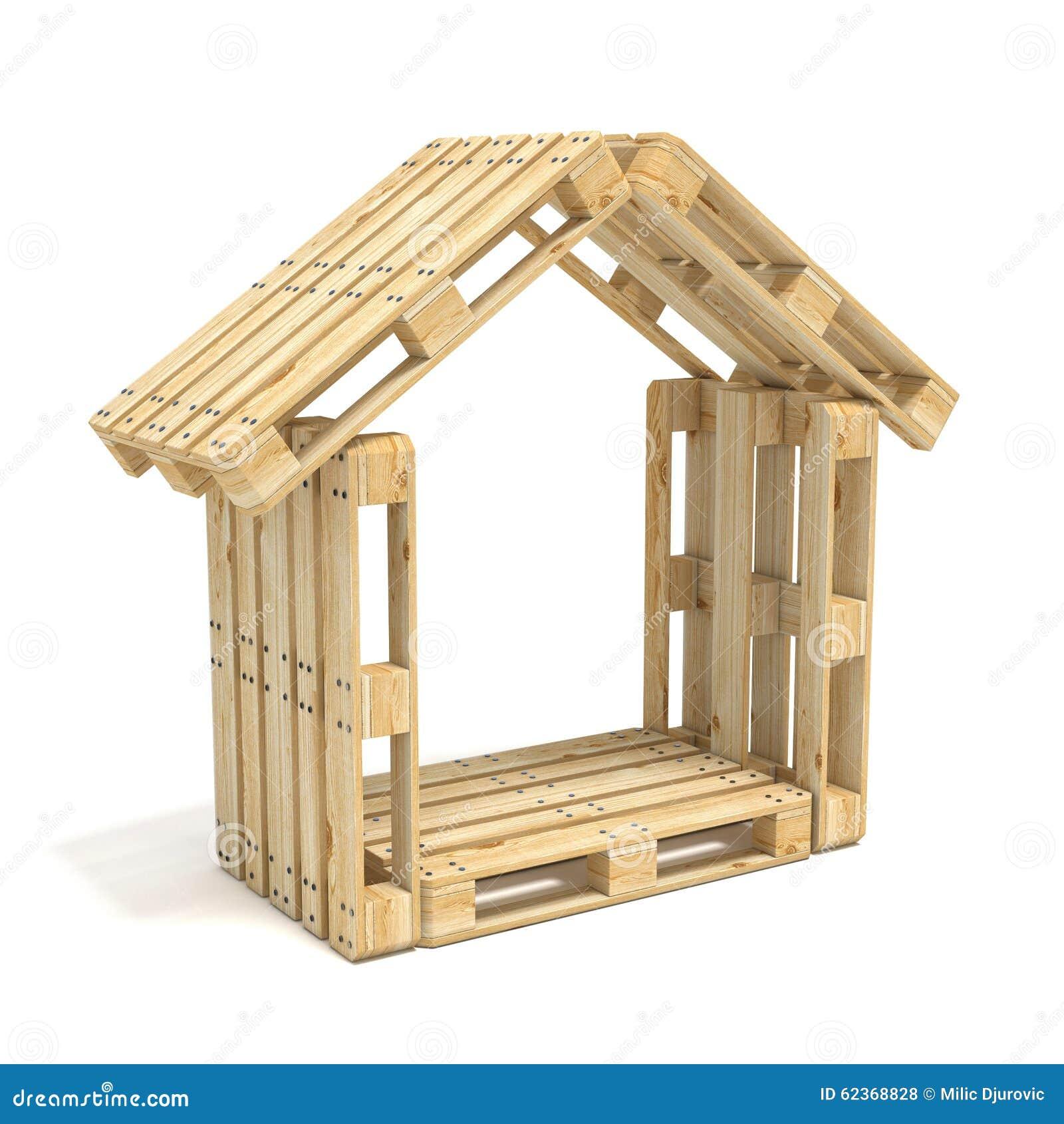 Casa hecha de plataformas euro Vista lateral 3d rinden