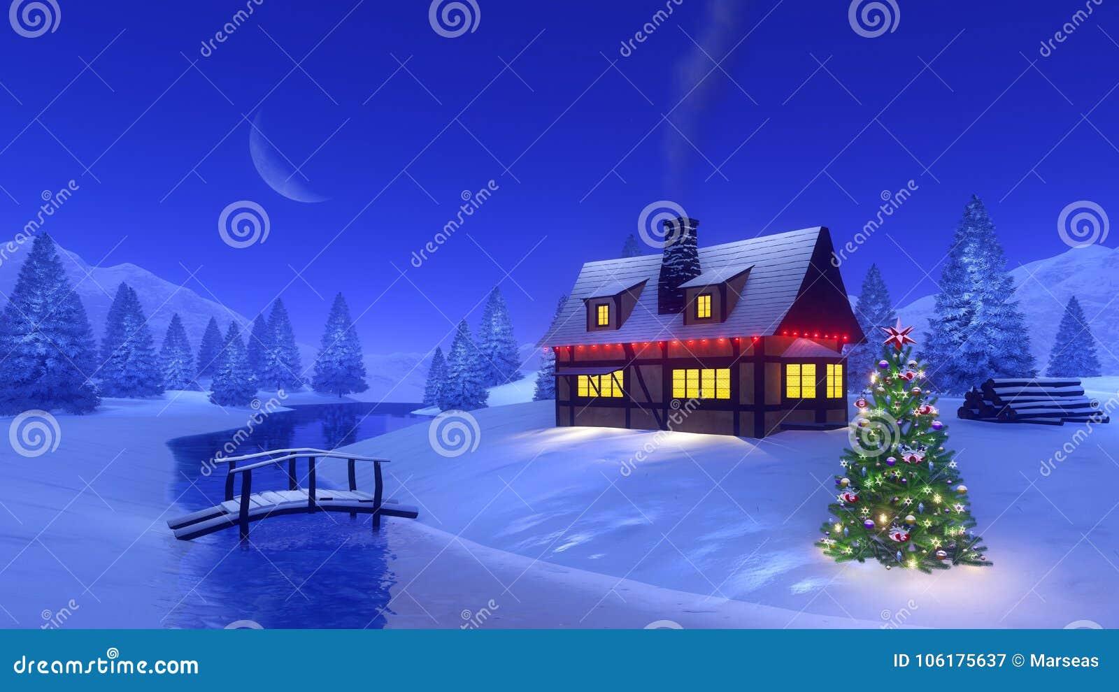 Case Di Montagna A Natale : Casa illuminata in montagna alla notte di natale illustrazione di