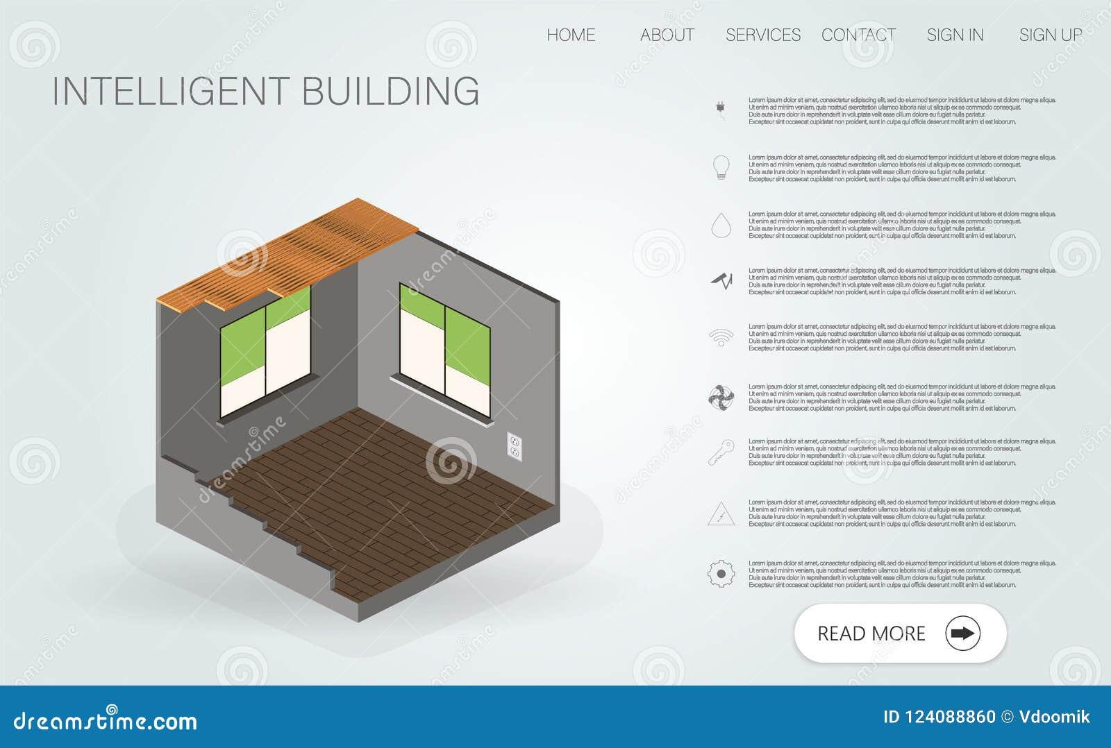 Casa inteligente ilustração 3d com casa inteligente Conceito liso isométrico home esperto do vetor