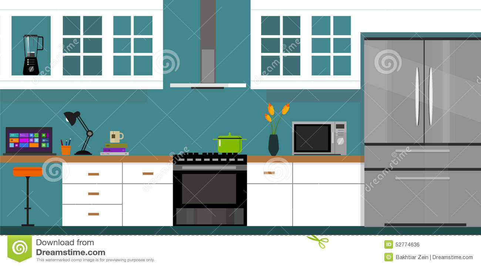 Casa Interior De Los Muebles De La Cocina Ilustración del ...