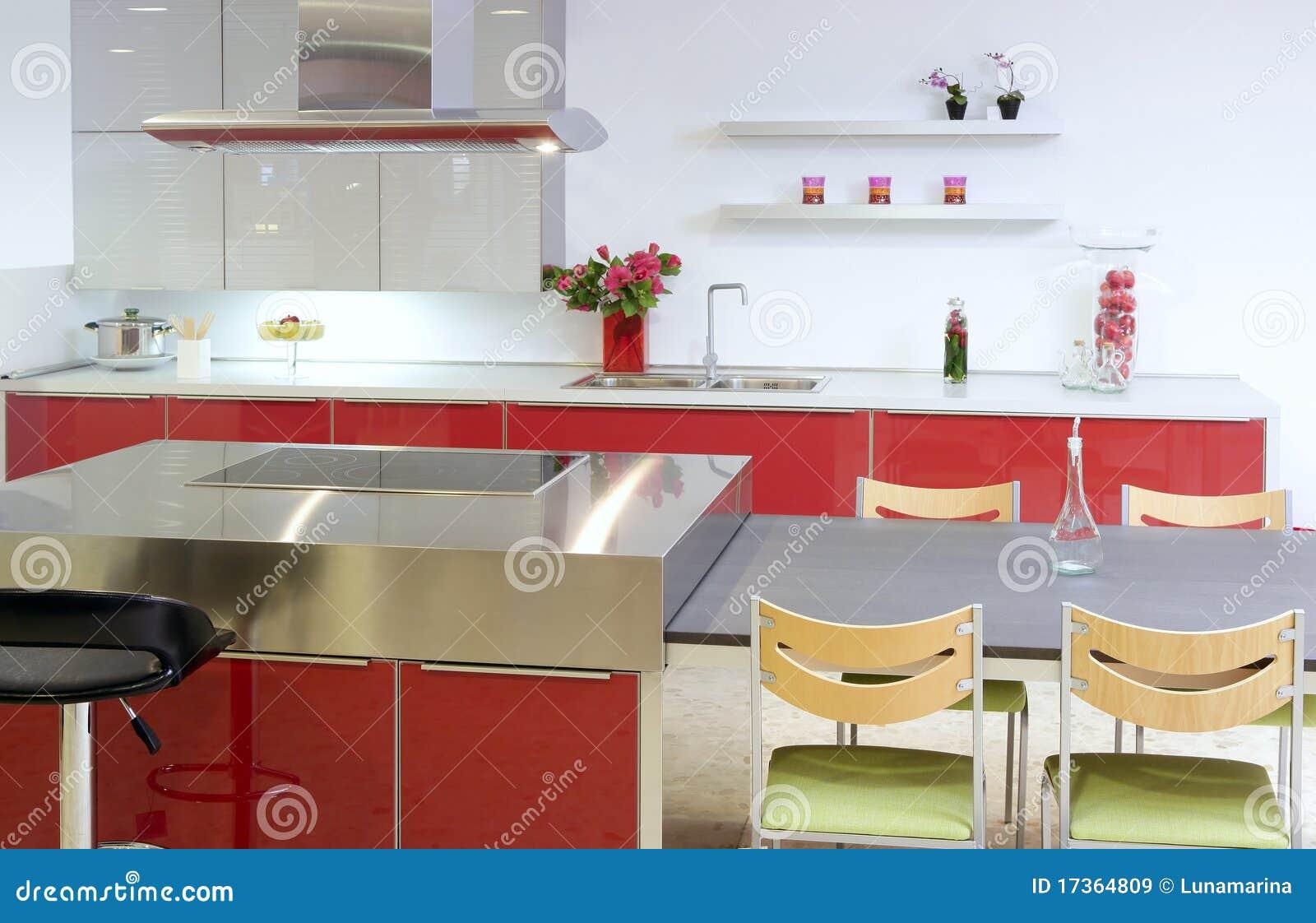 Casa Interior Moderna Da Prata Vermelha Da Cozinha Do Console Imagem