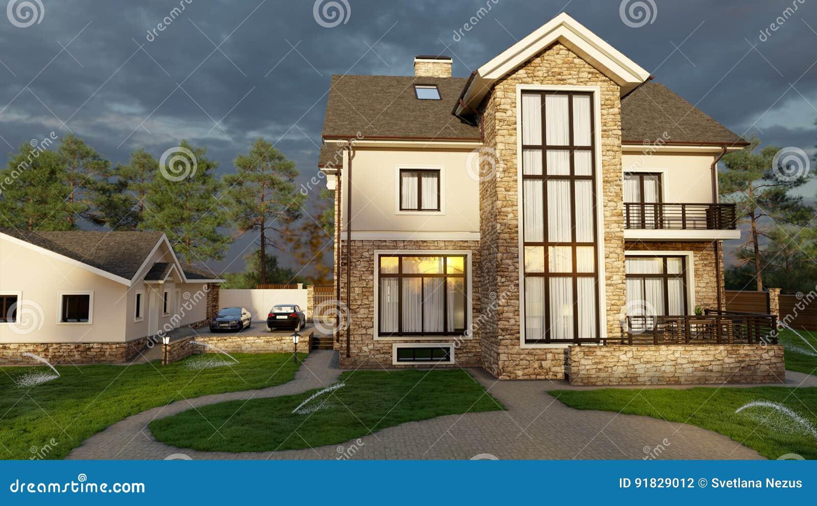 Casa luxuosa da família com ajardinar