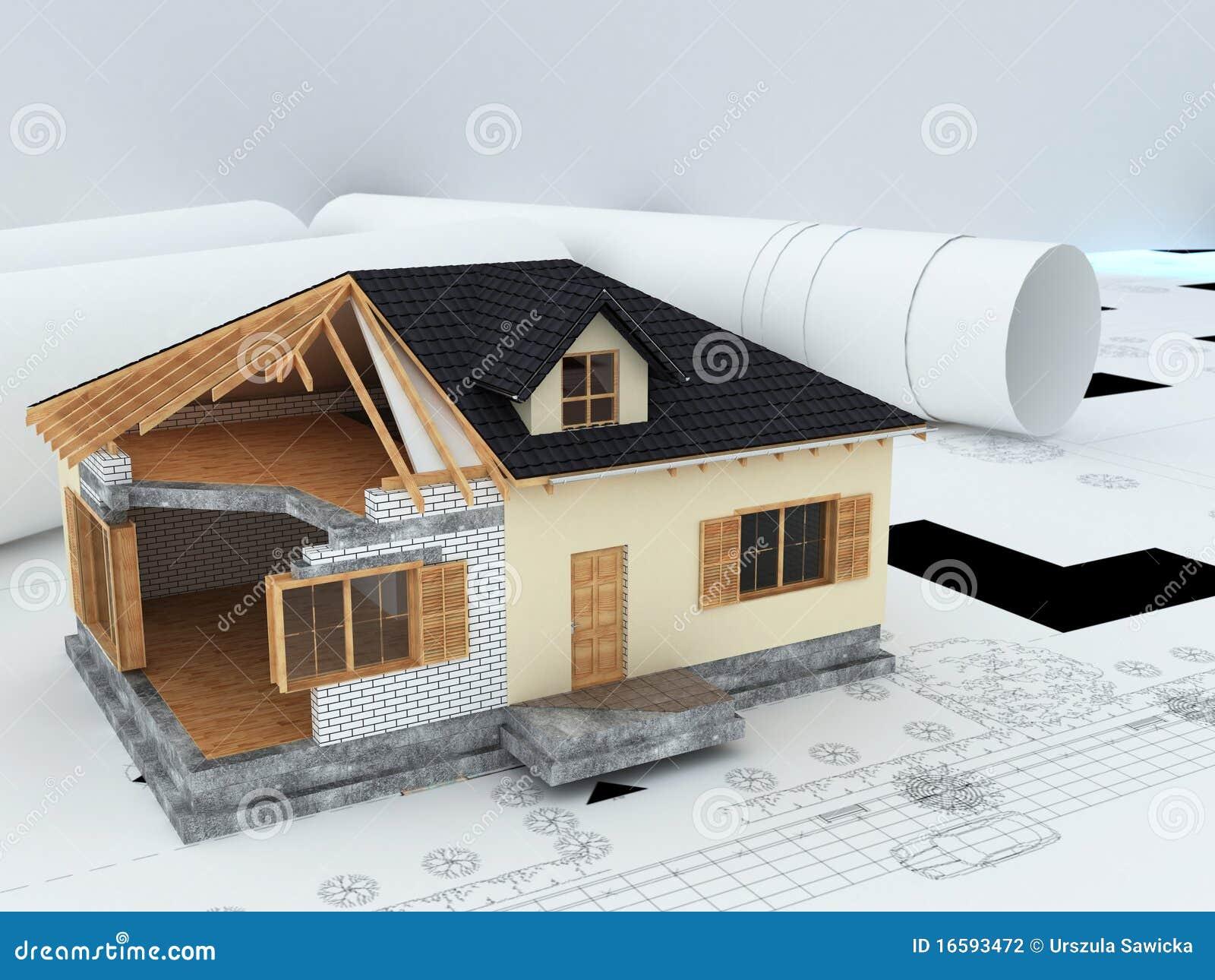 Casa modelo dos arquitetos fotografia de stock imagem for Modelos de casas procrear clasica