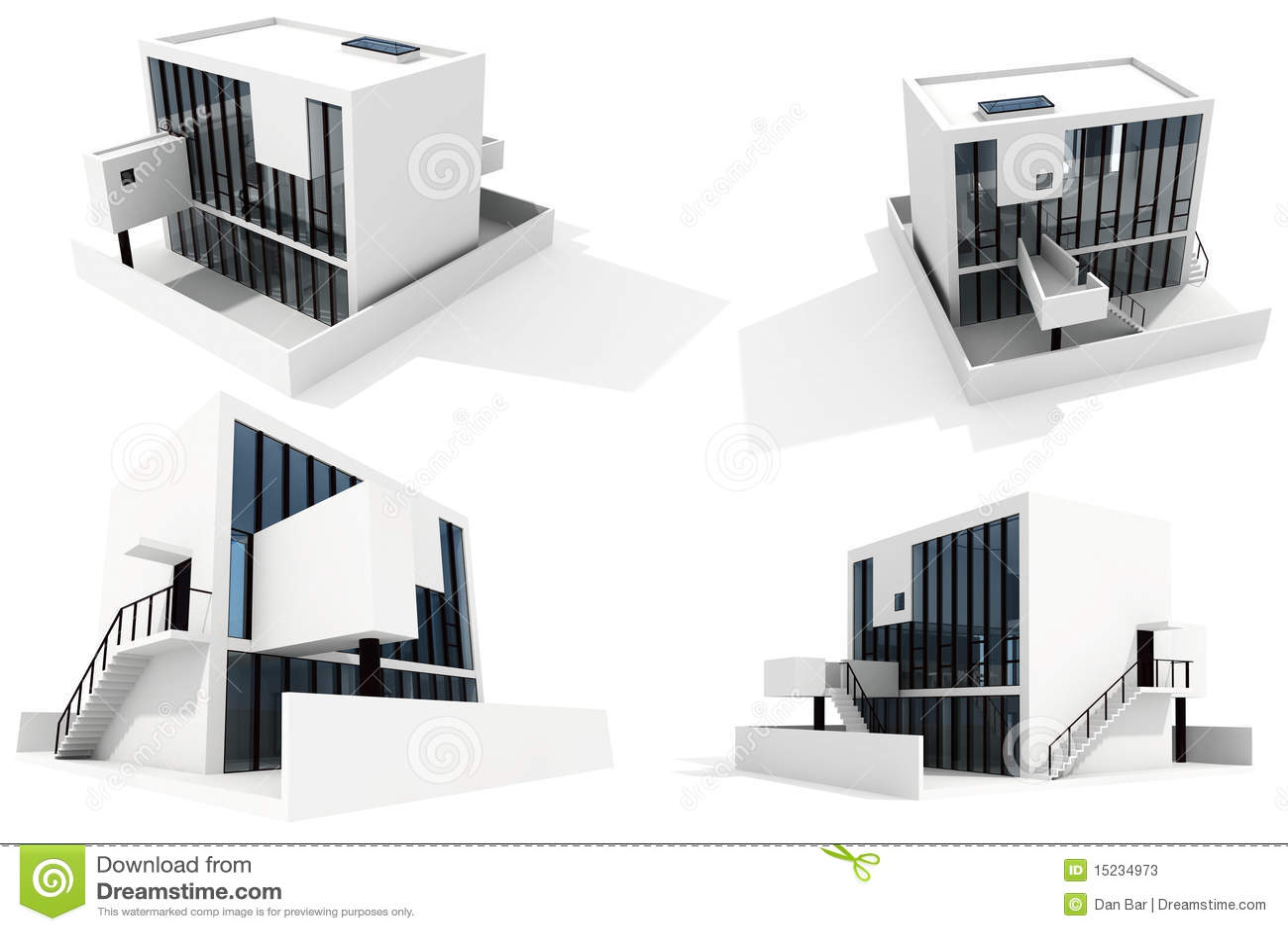 Casa moderna 3d, aislada en el fondo blanco