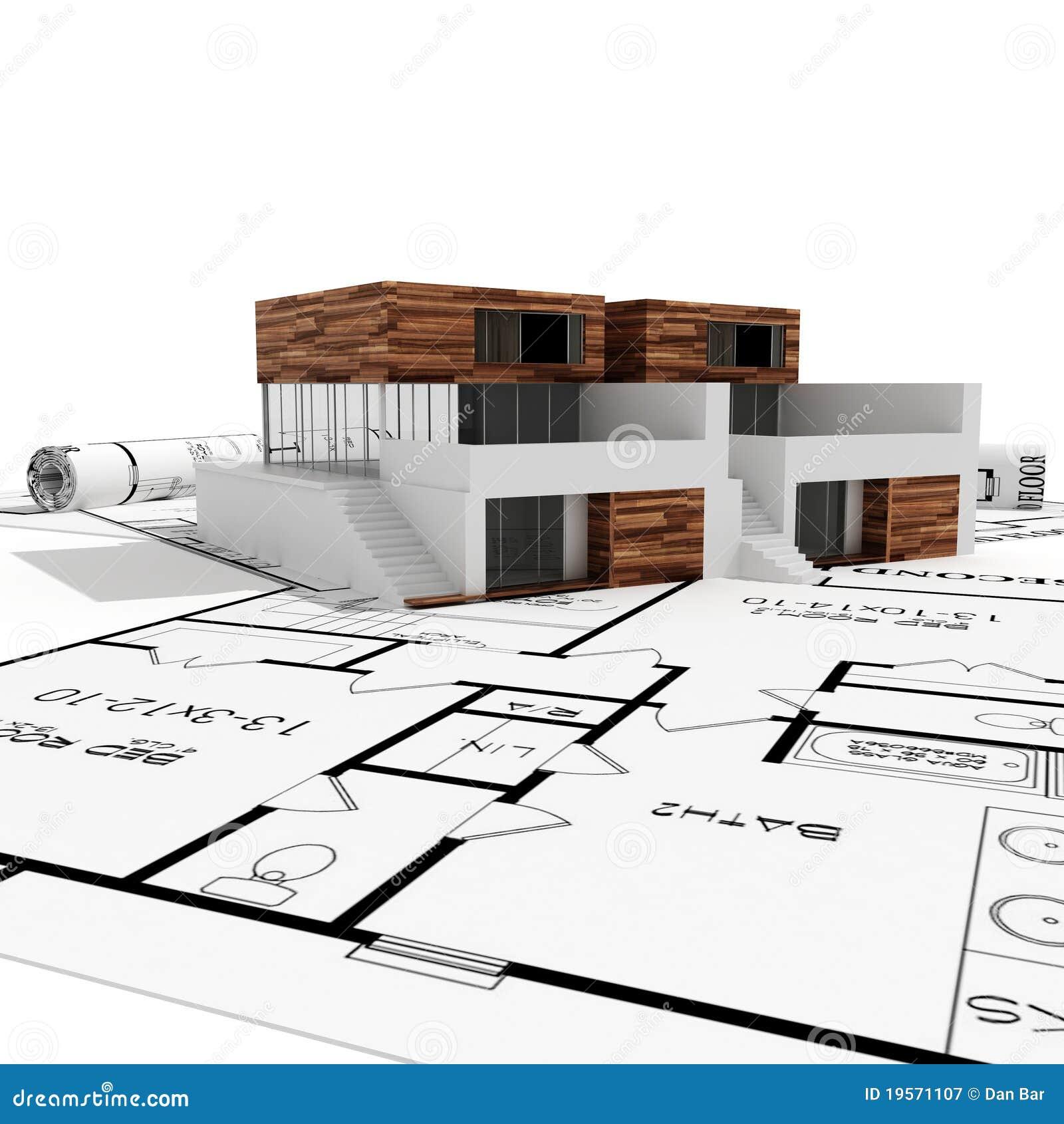 Casa moderna 3d e cianografie isolate su bianco fotografia for Casa moderna vector