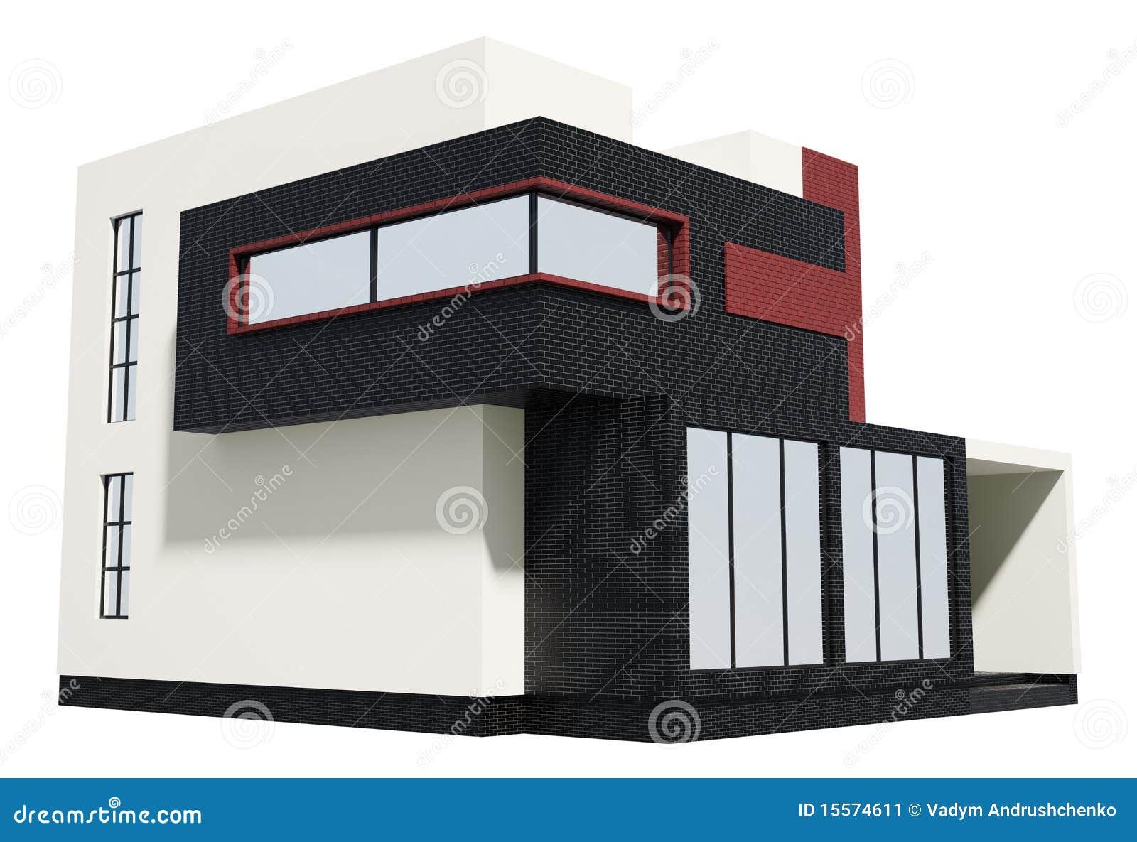 Casa moderna 3d esterno illustrazione di stock for Casa moderna esterno