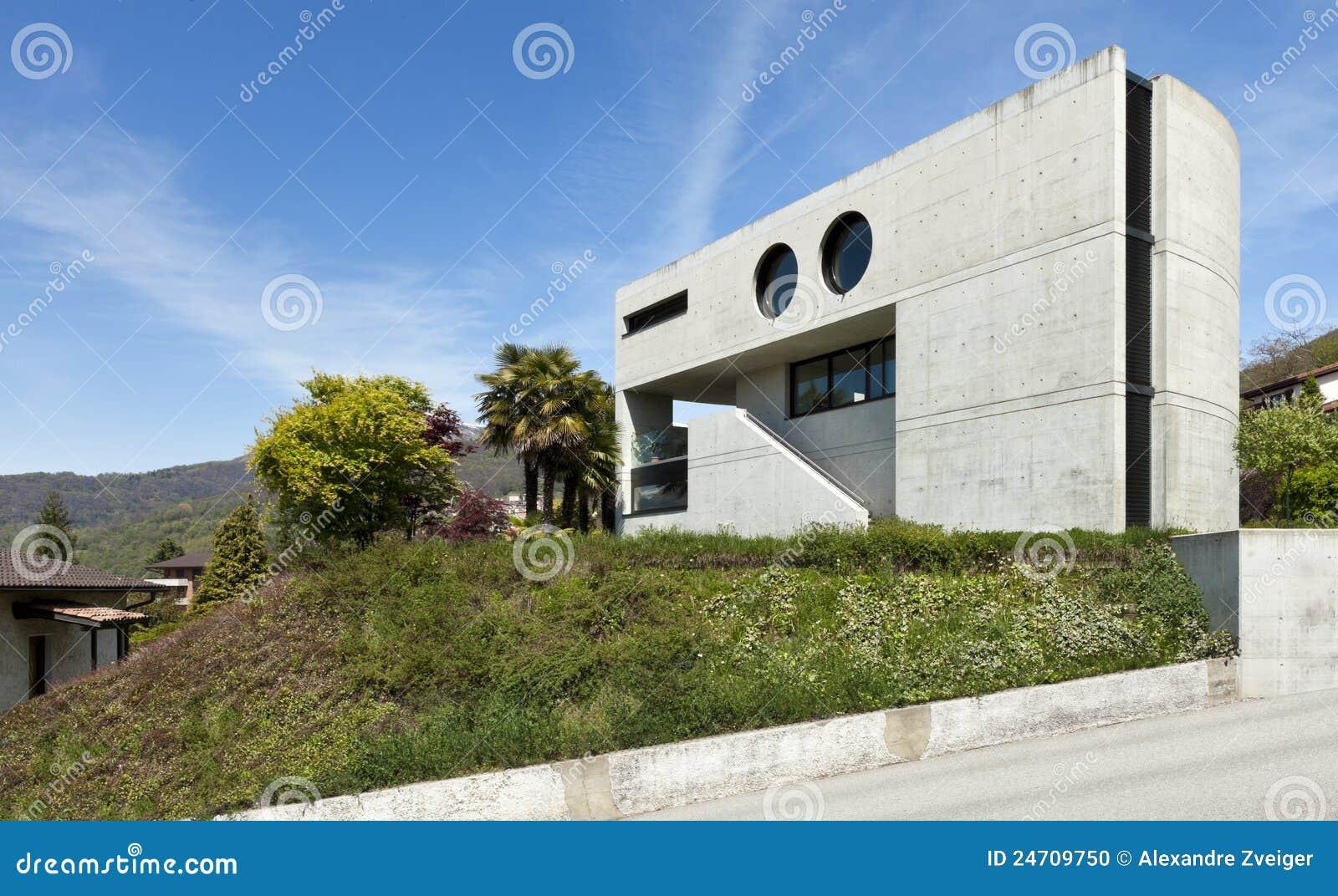Casa moderna in cemento esterno fotografia stock for Casa moderna esterno