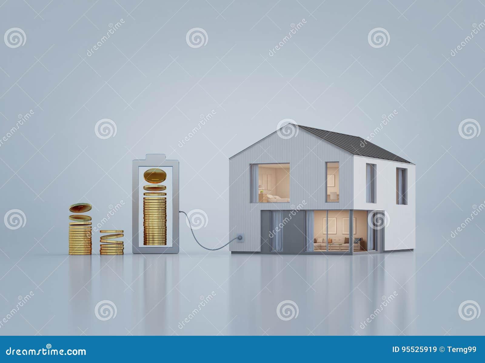 Casa Moderna Com As Moedas De Ouro No Investimento Da Propriedade E ...
