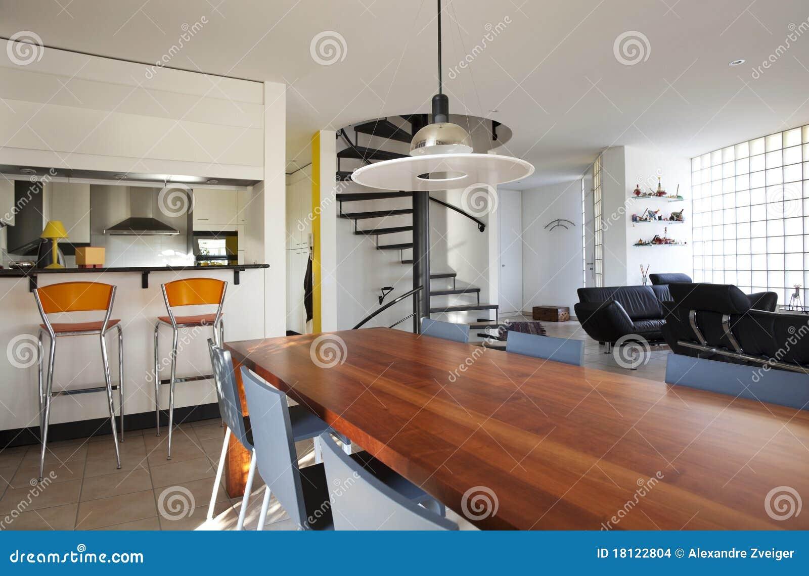 Casa moderna comedor foto de archivo imagen de nadie for Comodas modernas para comedor