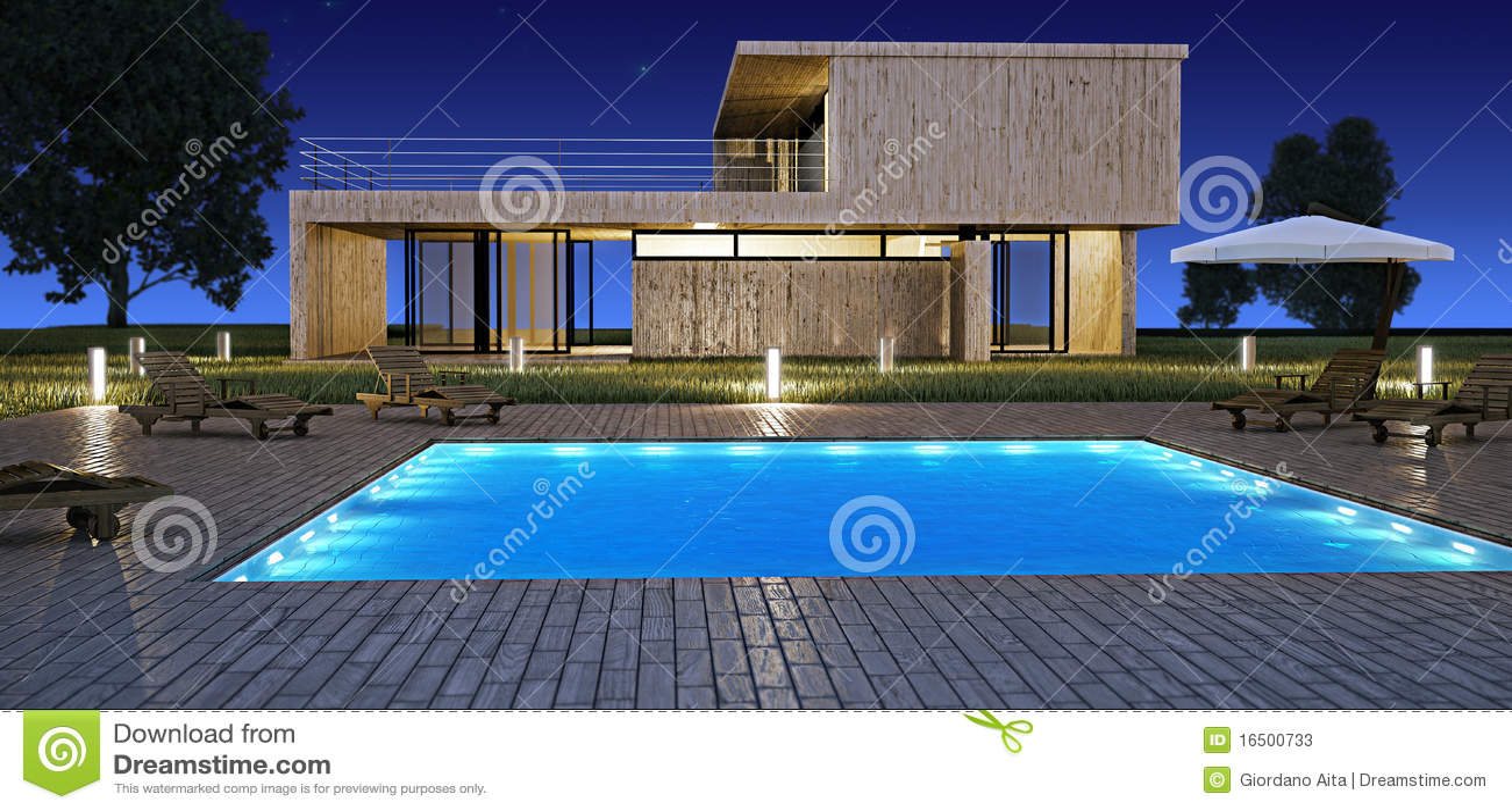 Casa moderna con la piscina stock de ilustraci n imagen for Plantas de casas modernas con piscina