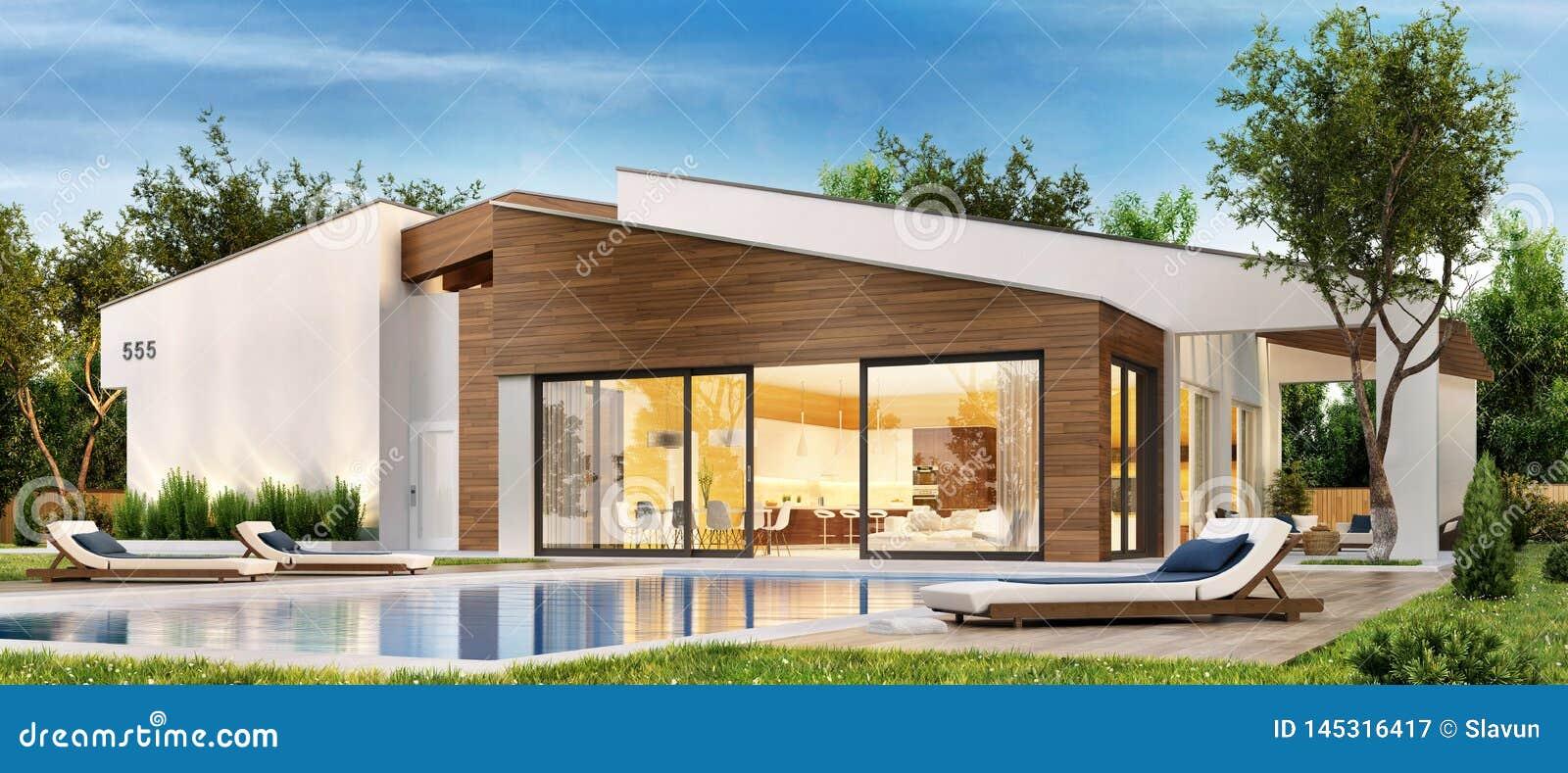 Casa Moderna Con La Terraza Y La Piscina Grandes Imagen De