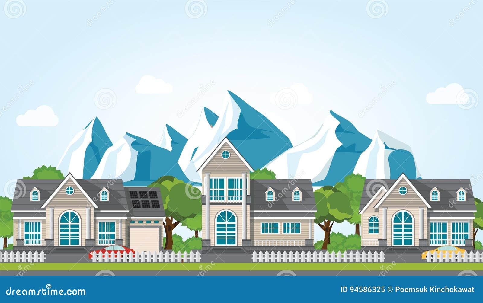 Casa moderna da família na montanha contra o fundo do céu azul