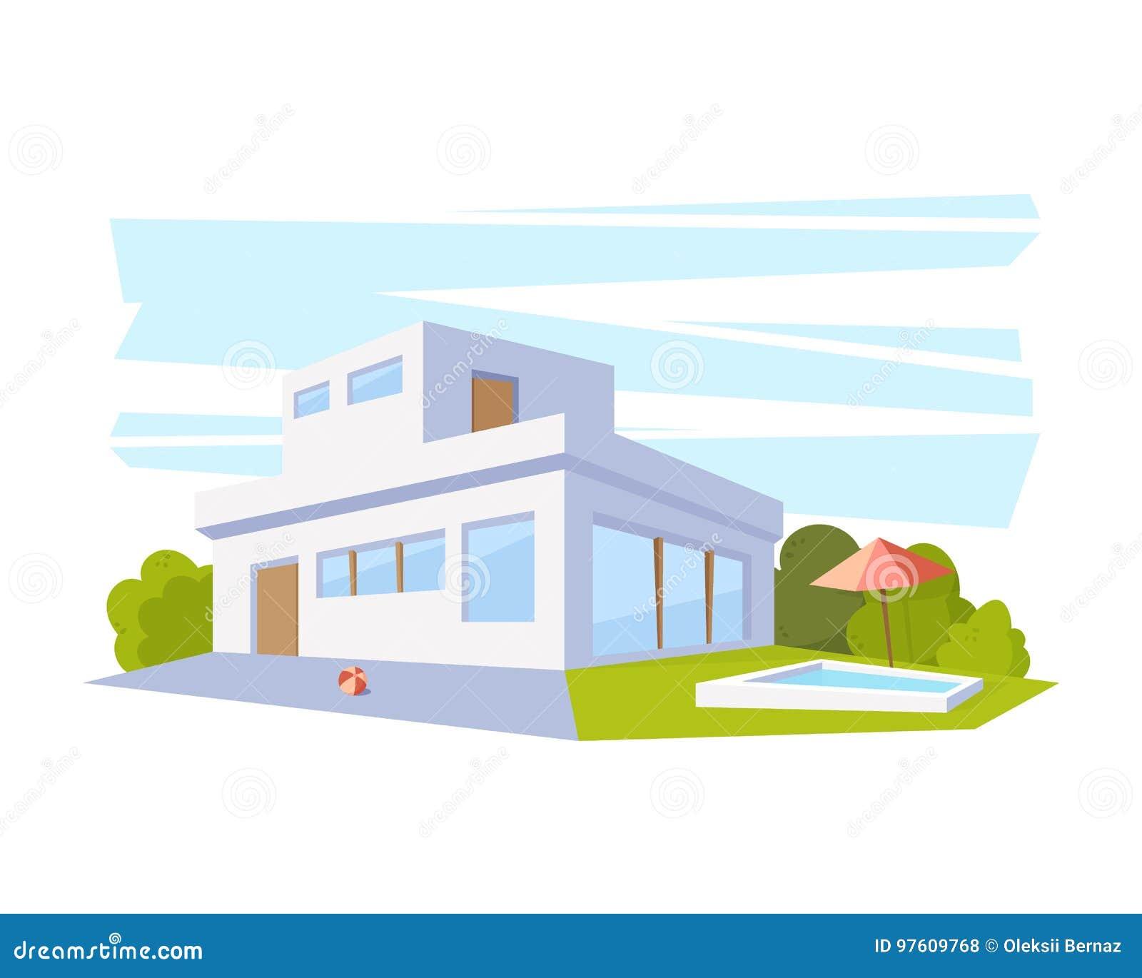 Casa Moderna De La Arquitectura Del Estilo Plano Con La Piscina Y El
