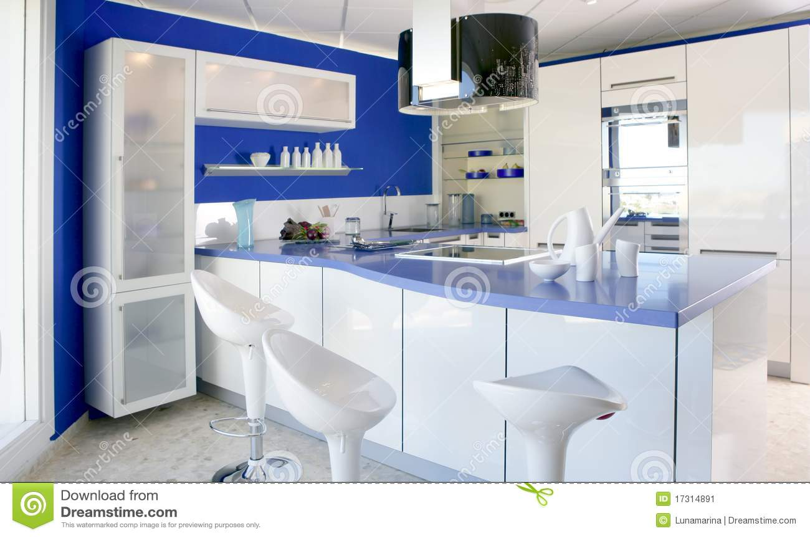 Casa Moderna Do Projeto Interior Da Cozinha Branca Azul Imagem De