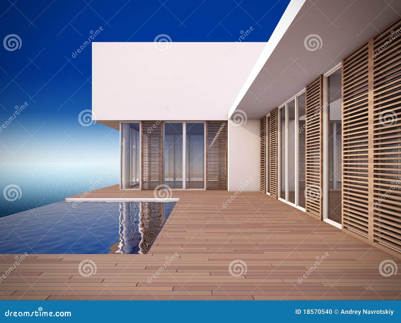 Casa moderna en estilo minimalista foto de archivo for Casa estilo moderna