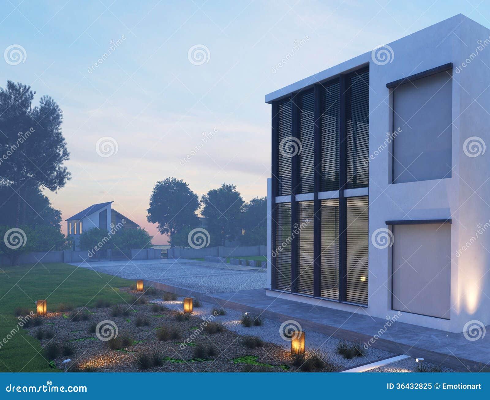 Casa moderna exterior con la iluminaci n al aire libre en - Iluminacion casas modernas ...