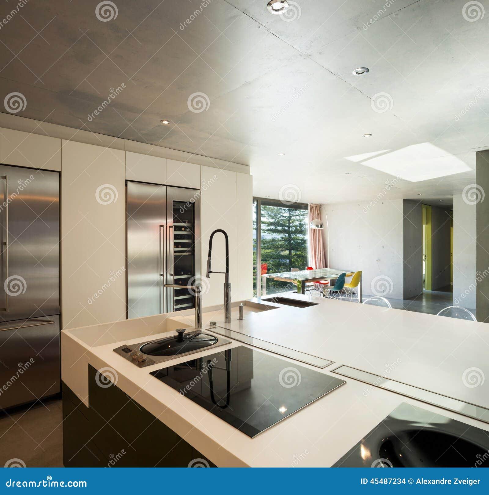 Casa Moderna Interior Cozinha Foto de Stock Imagem: 45487234 #7E684D 1300 1335