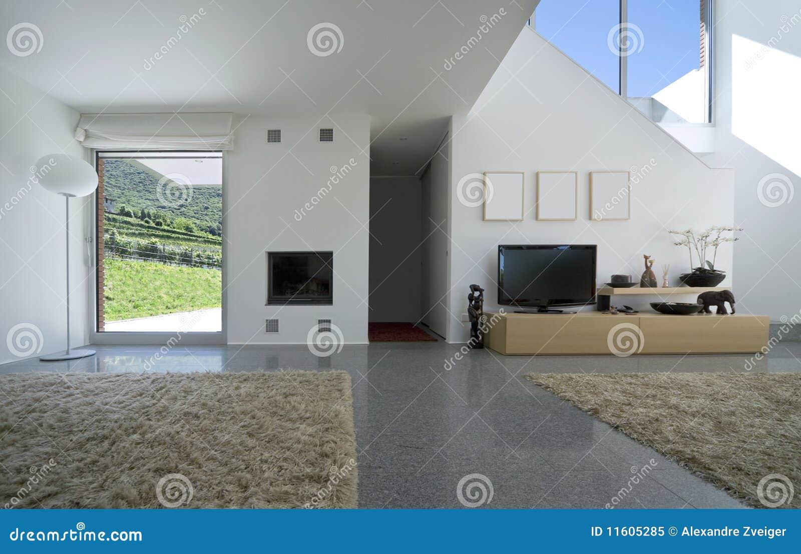 Casa moderna interior do tijolo foto de stock royalty free for Casas modernas 2016 interior