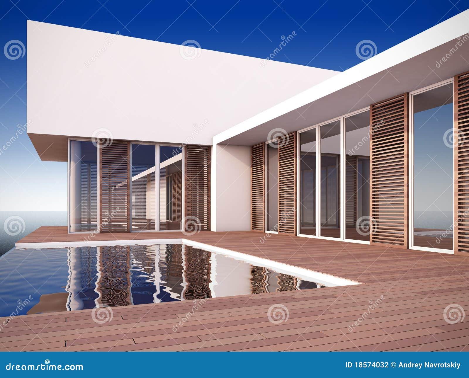 Casa moderna no estilo minimalista fotografia de stock for Casa estilo moderna