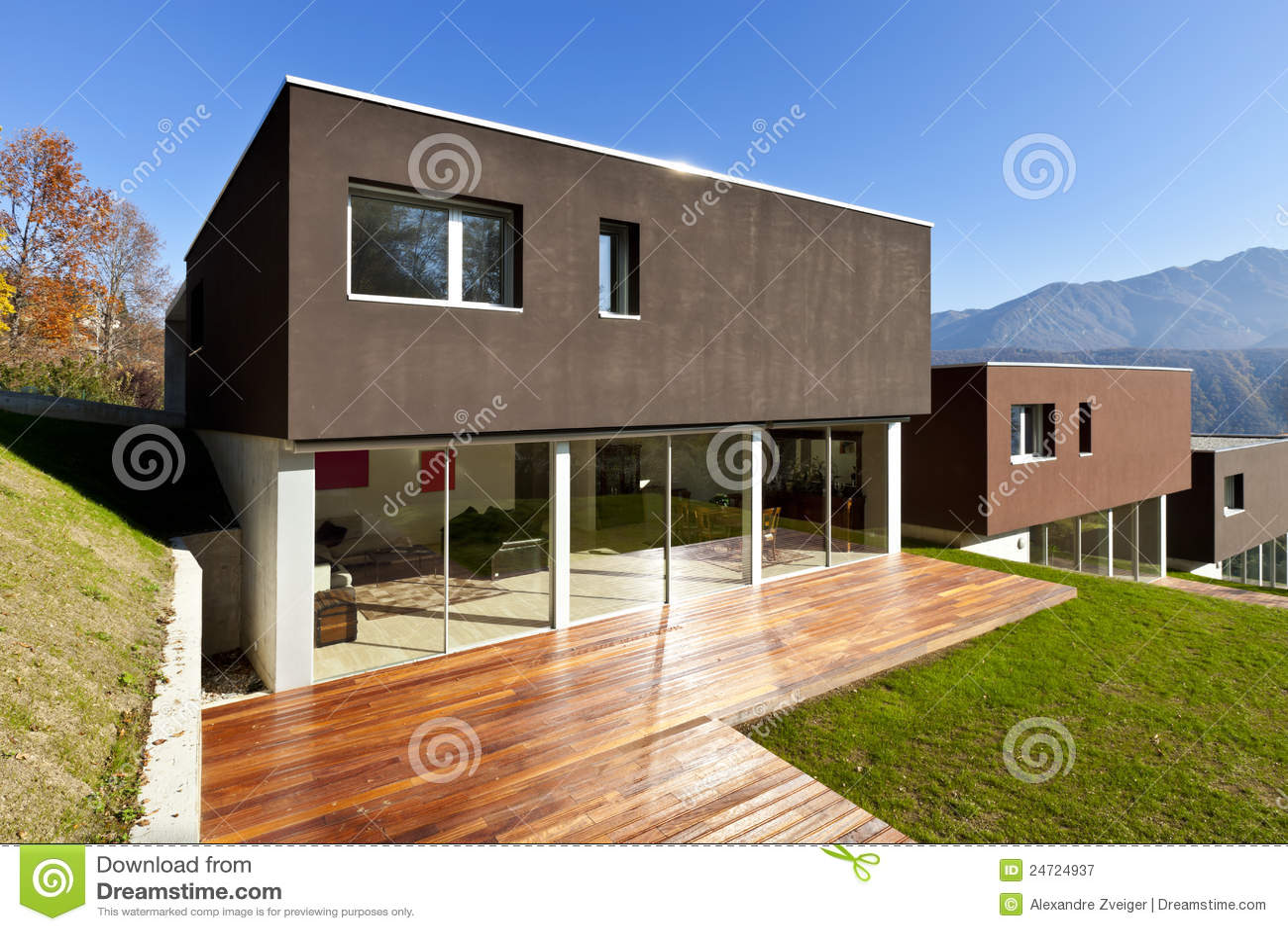 Casa moderna patio immagine stock immagine di patio for Casa moderna vector