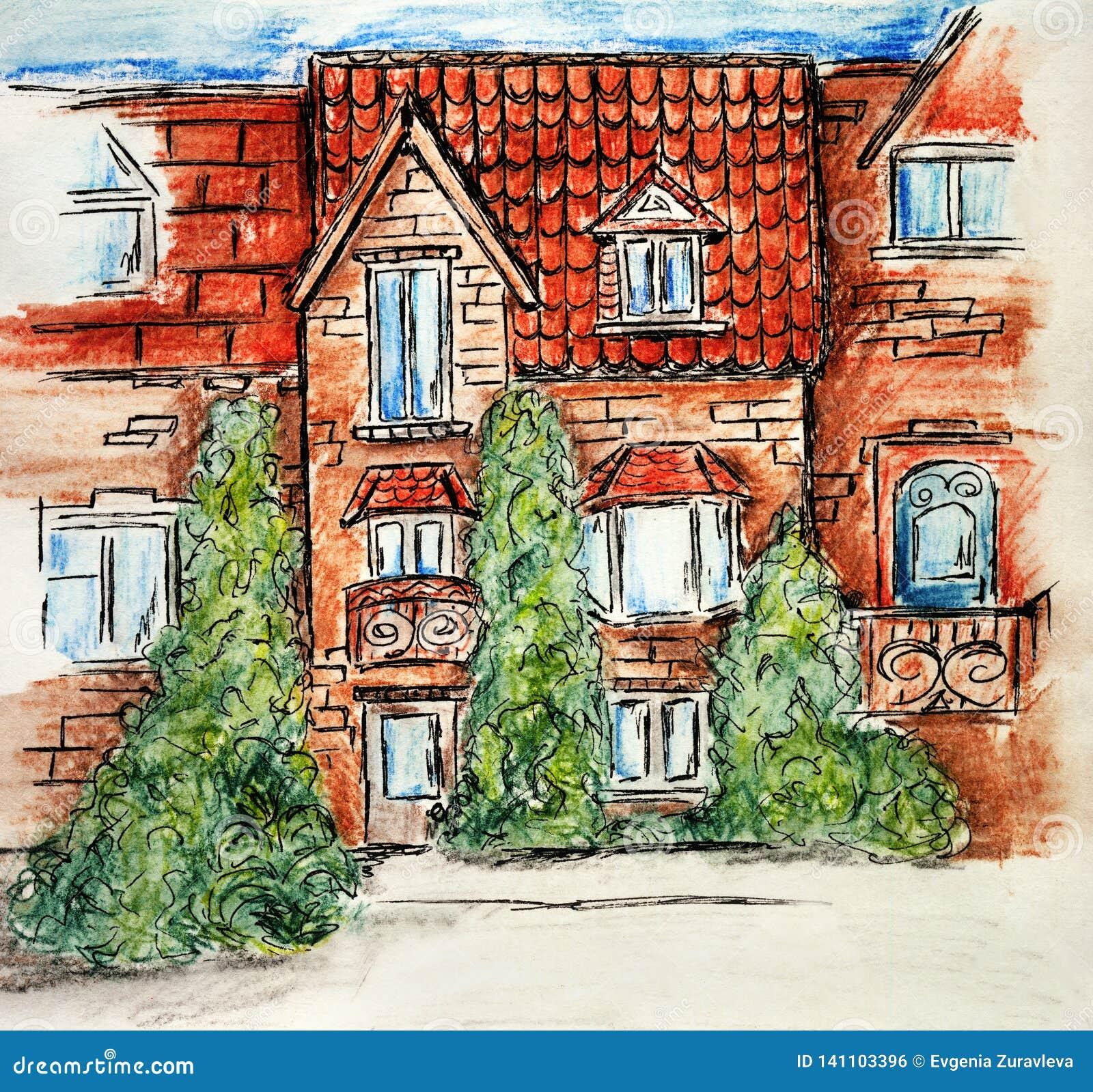 Casa multi-colorida do tijolo das crianças de tiragem de construção da ilustração do projeto da arte do lápis do esboço