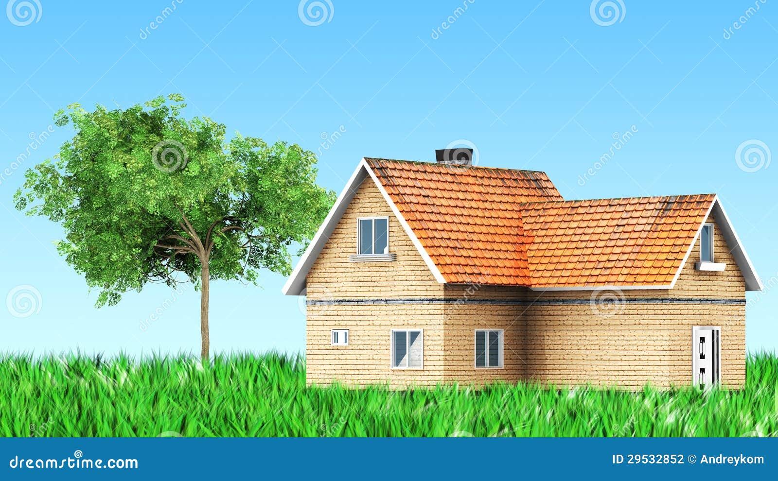 Casa na grama com árvore