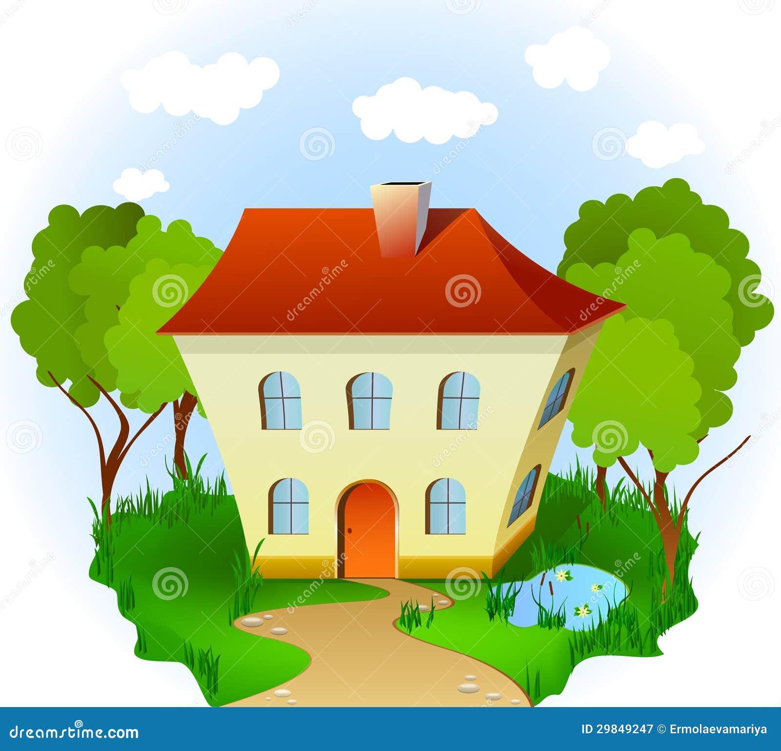Casa na grama com estrada, árvores e lagoa. Vetor
