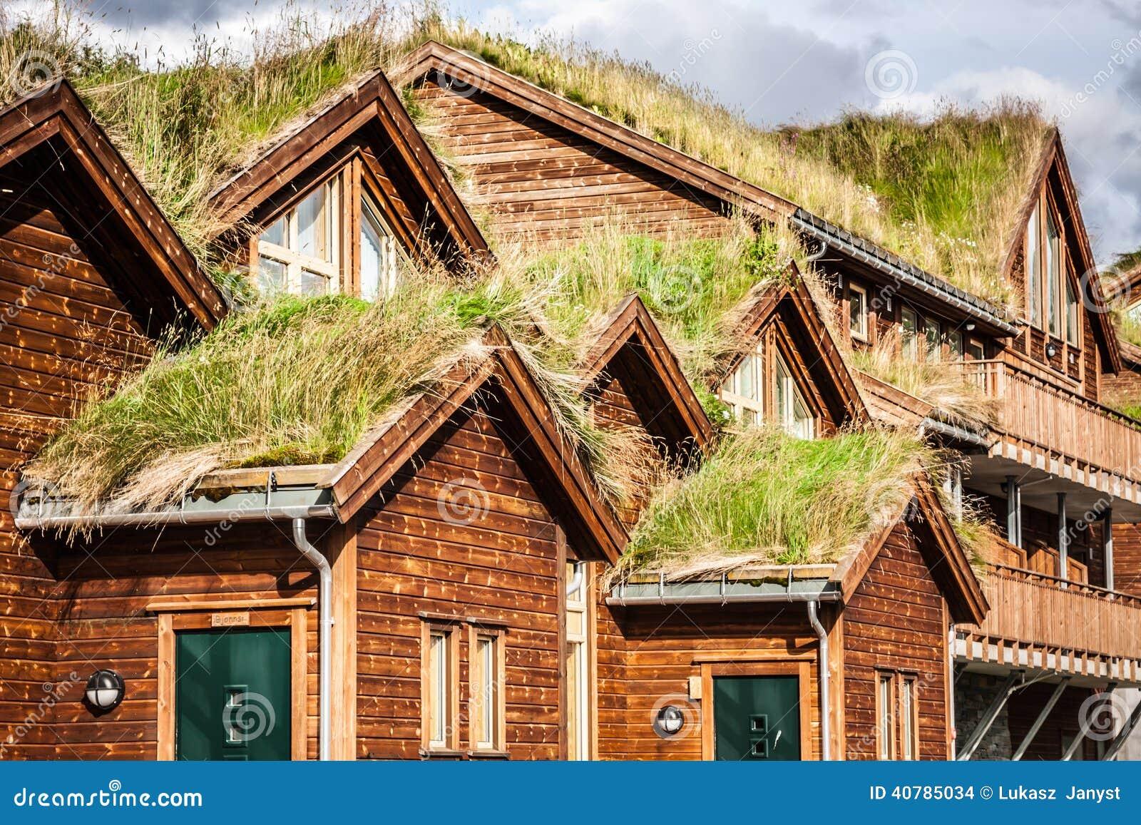 Casa noruega t pica con la hierba en el tejado foto de archivo imagen de heno camino 40785034 - La casa en el tejado ...