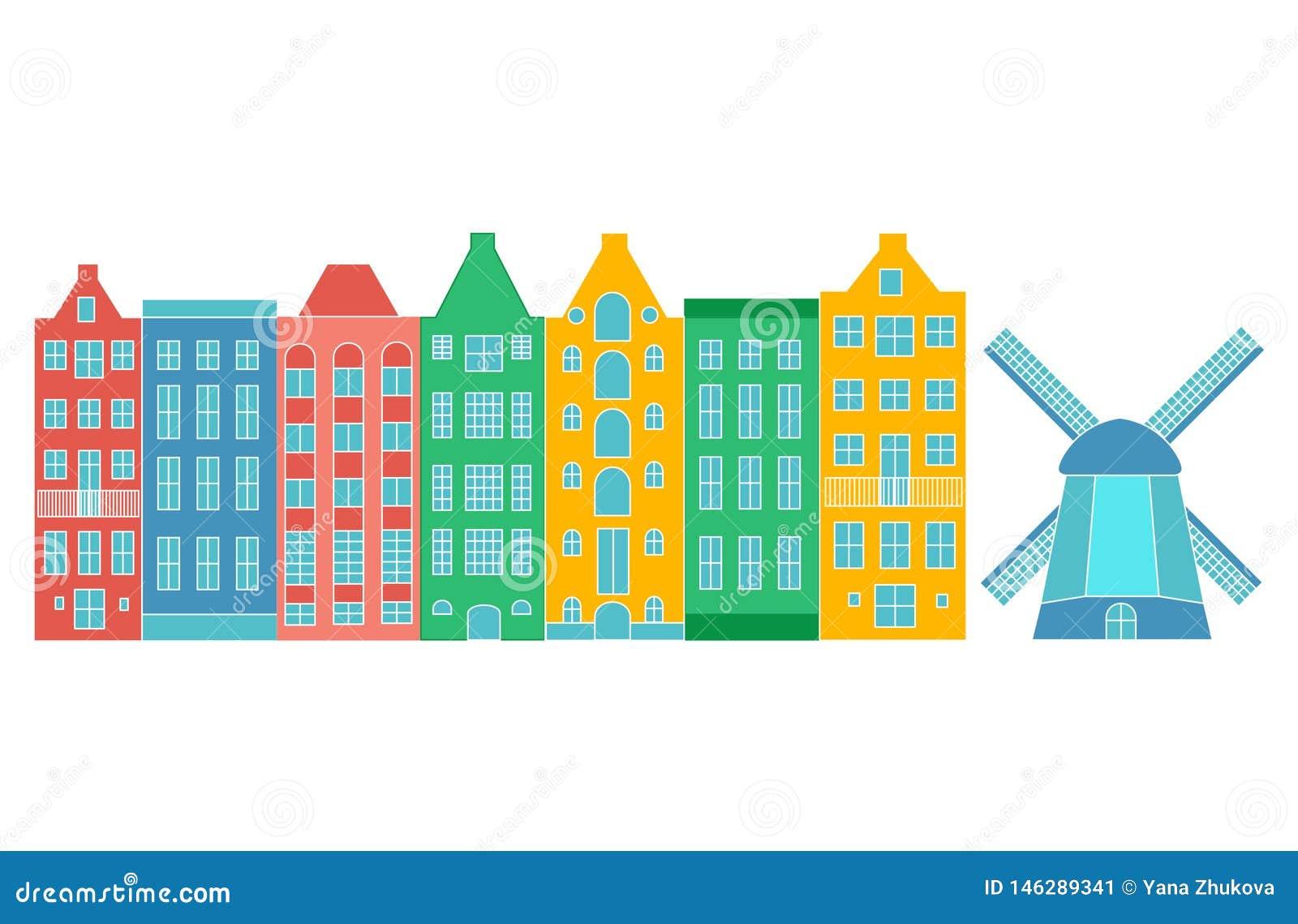 Casa o apartamentos de Europa Fije de arquitectura linda en Pa?ses Bajos casas viejas coloridas Amsterdam