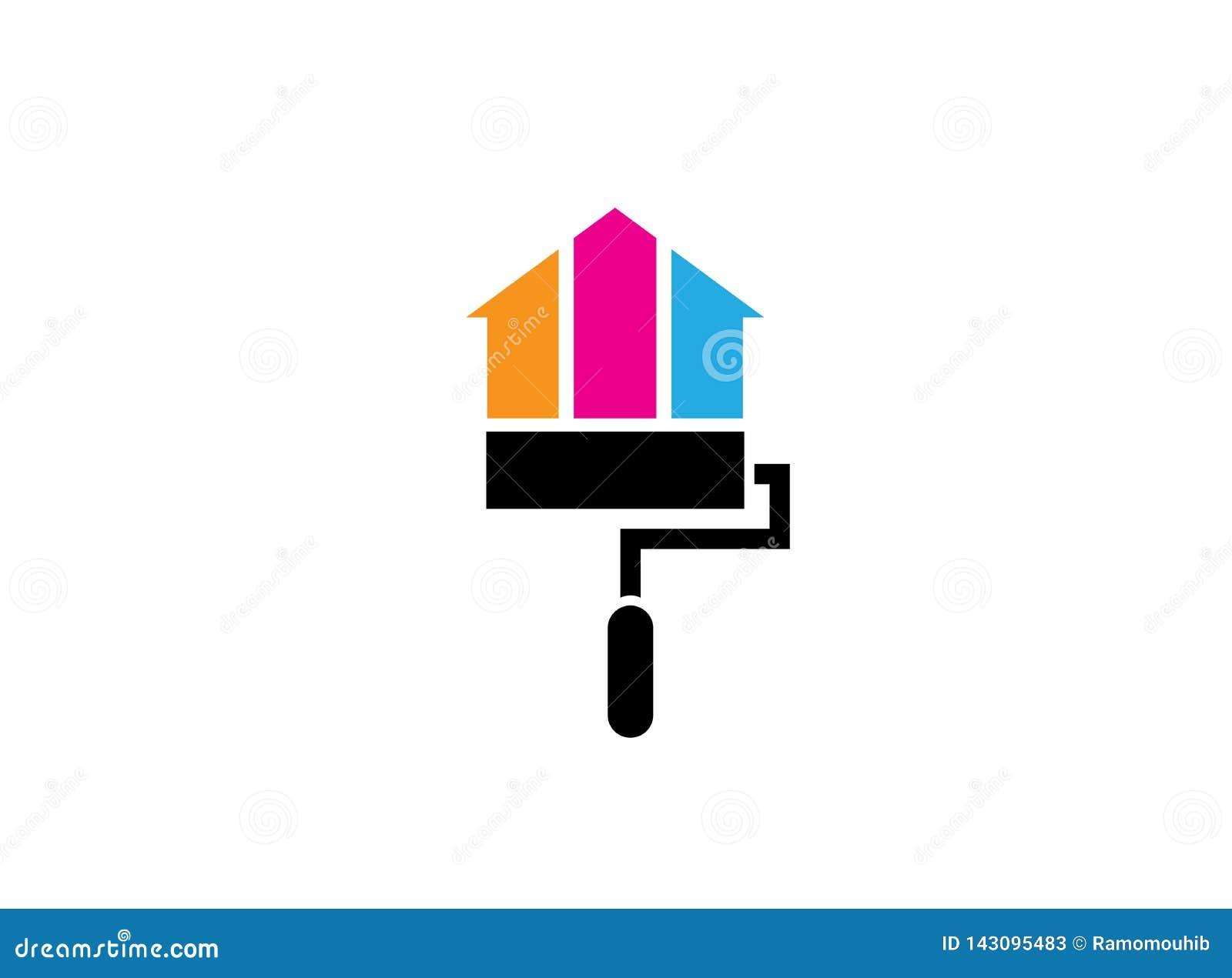 Casa ou casa da pintura da escova do rolo com os multicolors para o projeto do logotipo