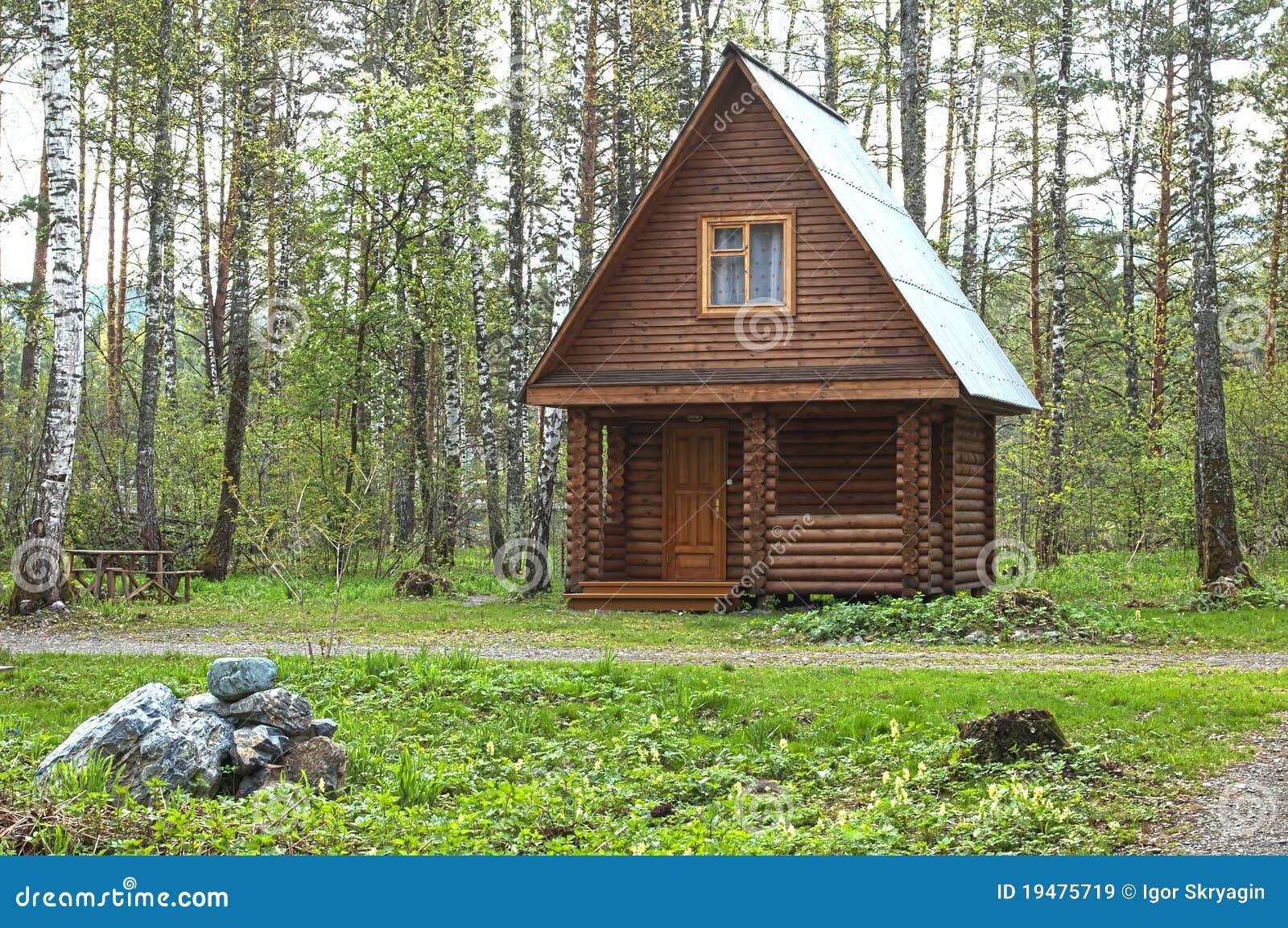 Casa pequena de madeira em uma madeira imagens de stock for Casetas pequenas