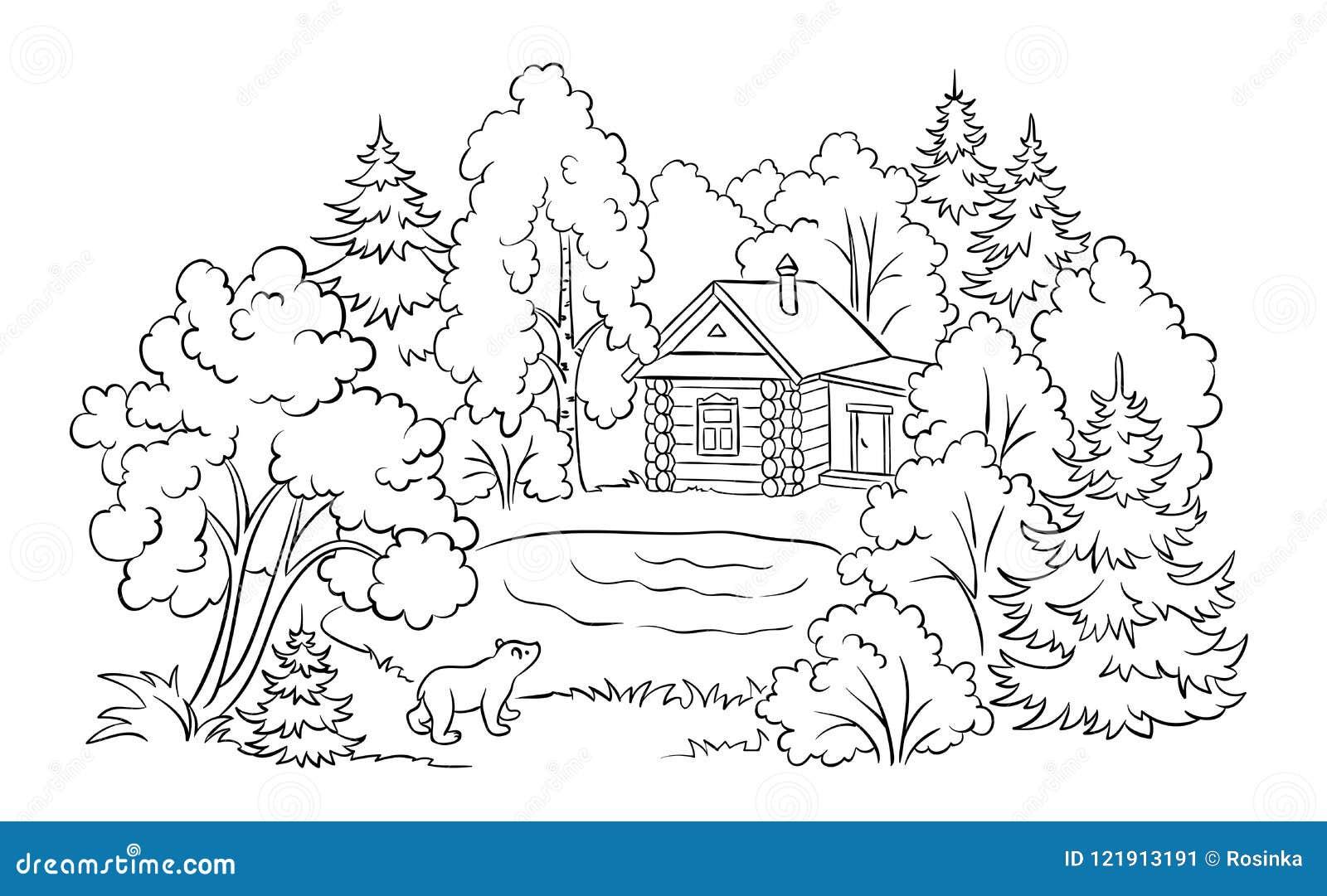 Casa Perto De Um Lago Ilustracao Da Floresta De Livro Para
