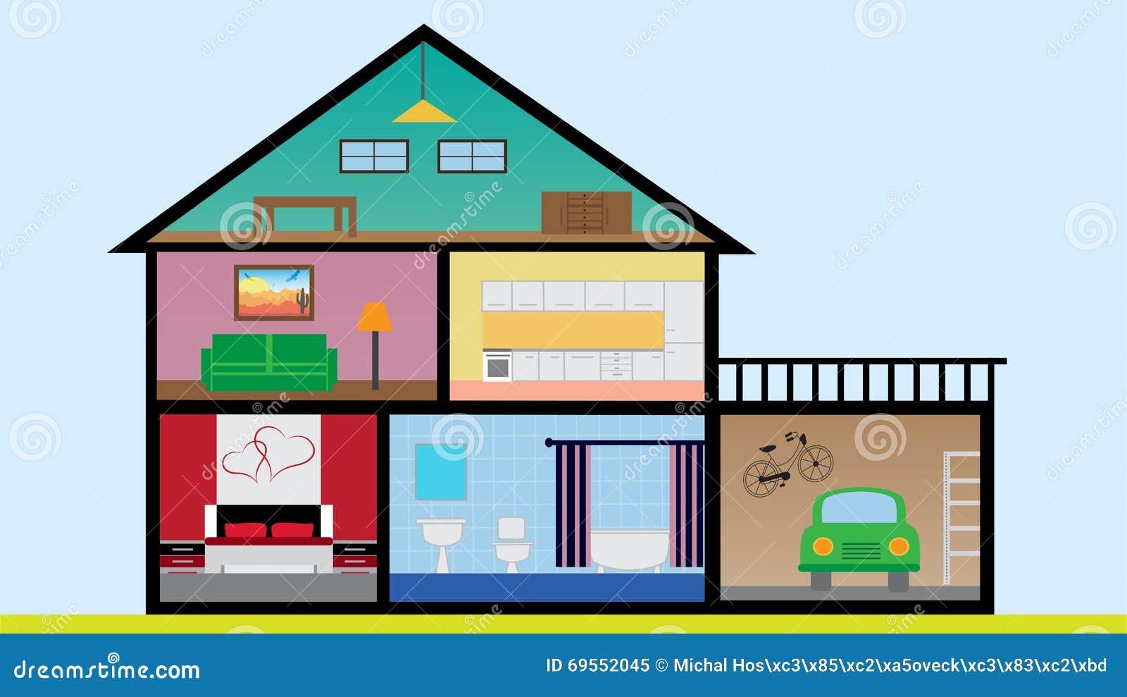 Casa plana del dise o con los cuartos el dormitorio la for Casa de 4 habitaciones diseno