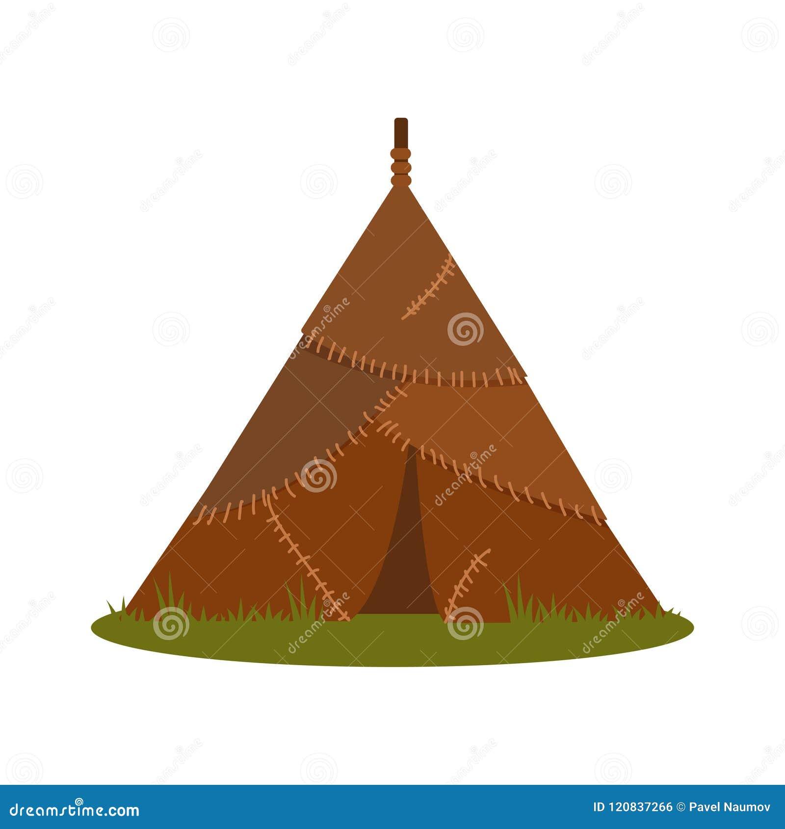 Casa prehistórica hecha de las pieles animales, elemento del ejemplo del vector de la Edad de Piedra en un fondo blanco